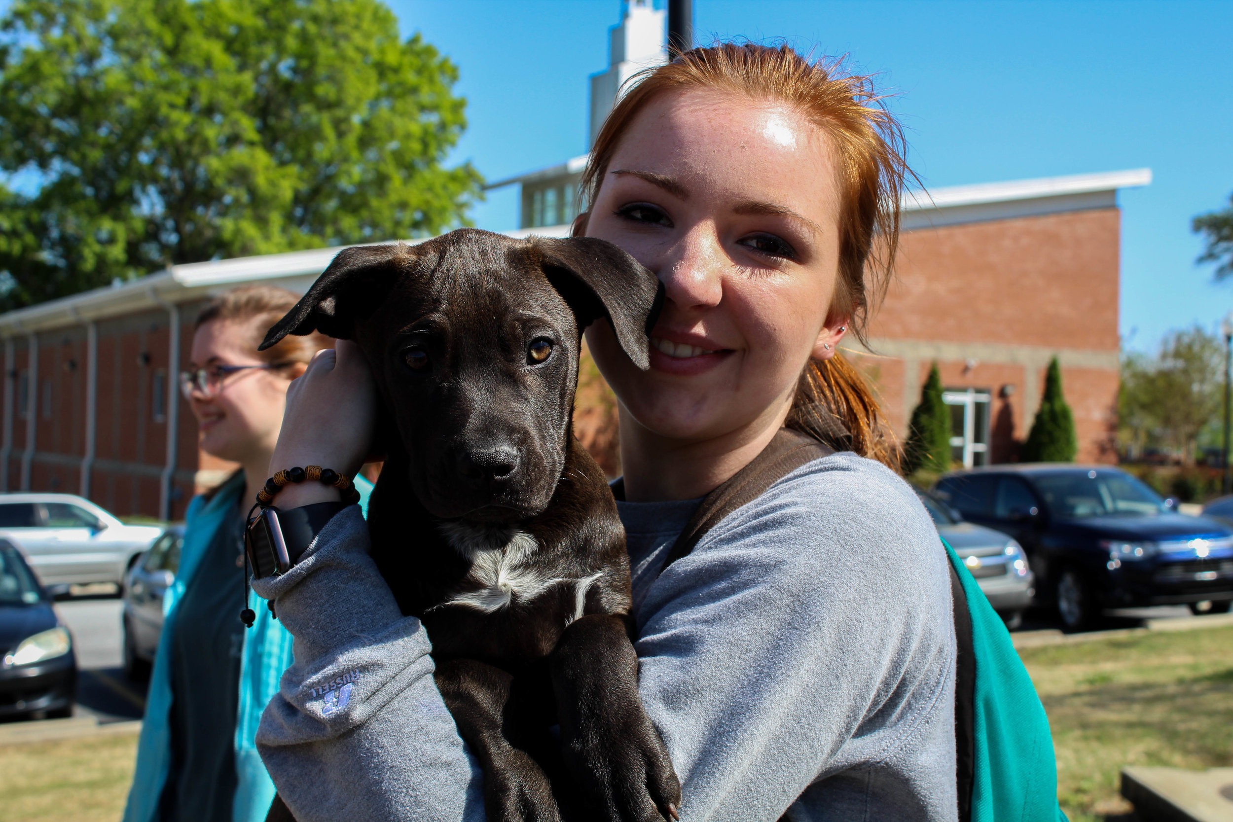 Annabrooke Heatherly, a member of the Animal Science Club, shows her love for animals as she holds one of the puppies.