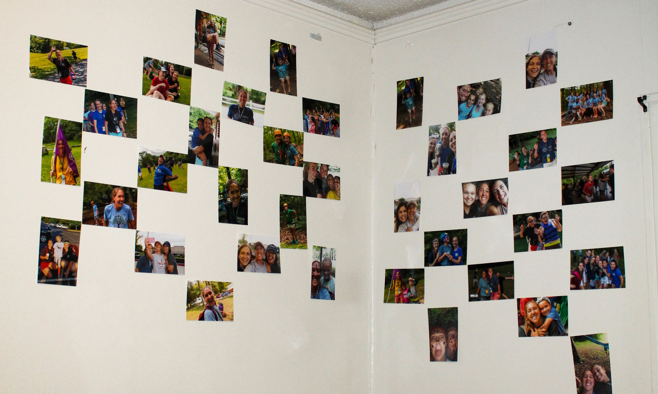Savannah Hallman, senior, decorates her walls with pictures of her and her friends.