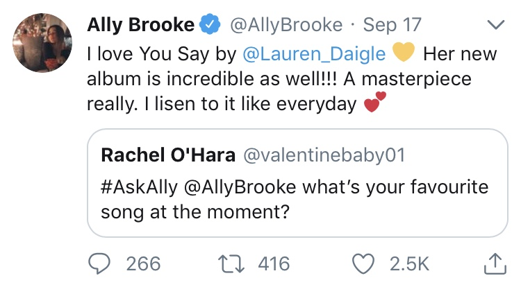 Shown on Ally Brooke's Twitter