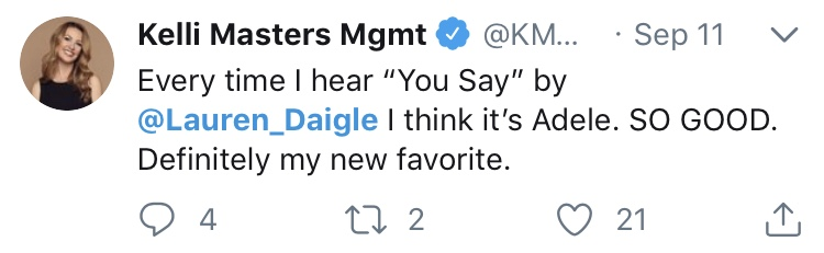 Shown on Kelli Masters' Twitter
