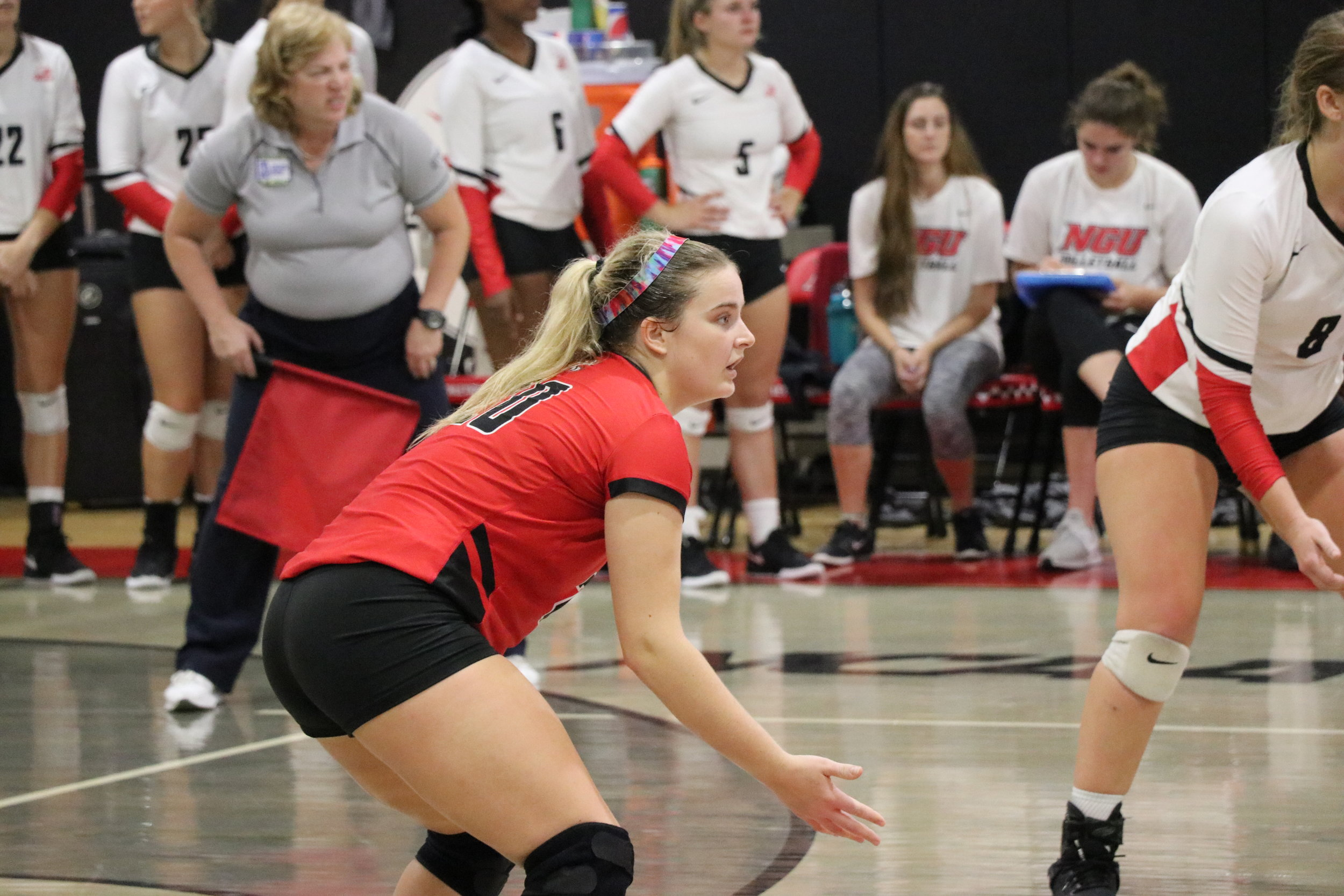 Sophomore, Abby Mumpower (20) is focused during the game.