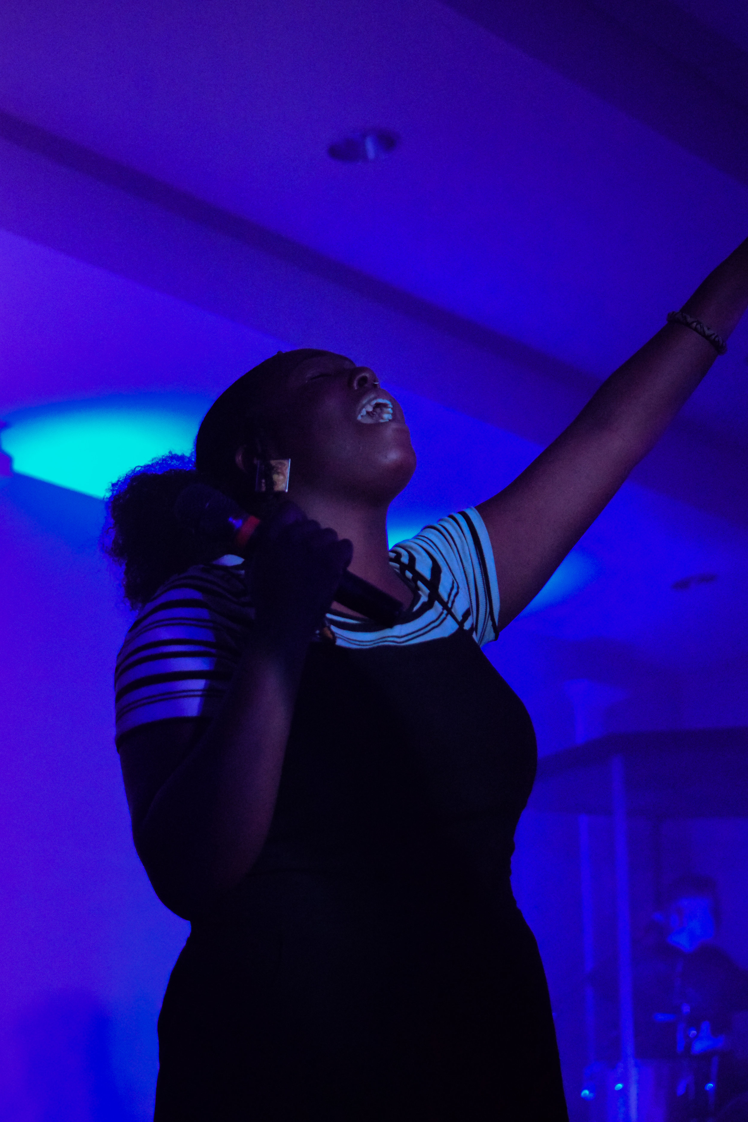 Sophomore, Shamira Scott, sings her heart out as she praises the Lord.