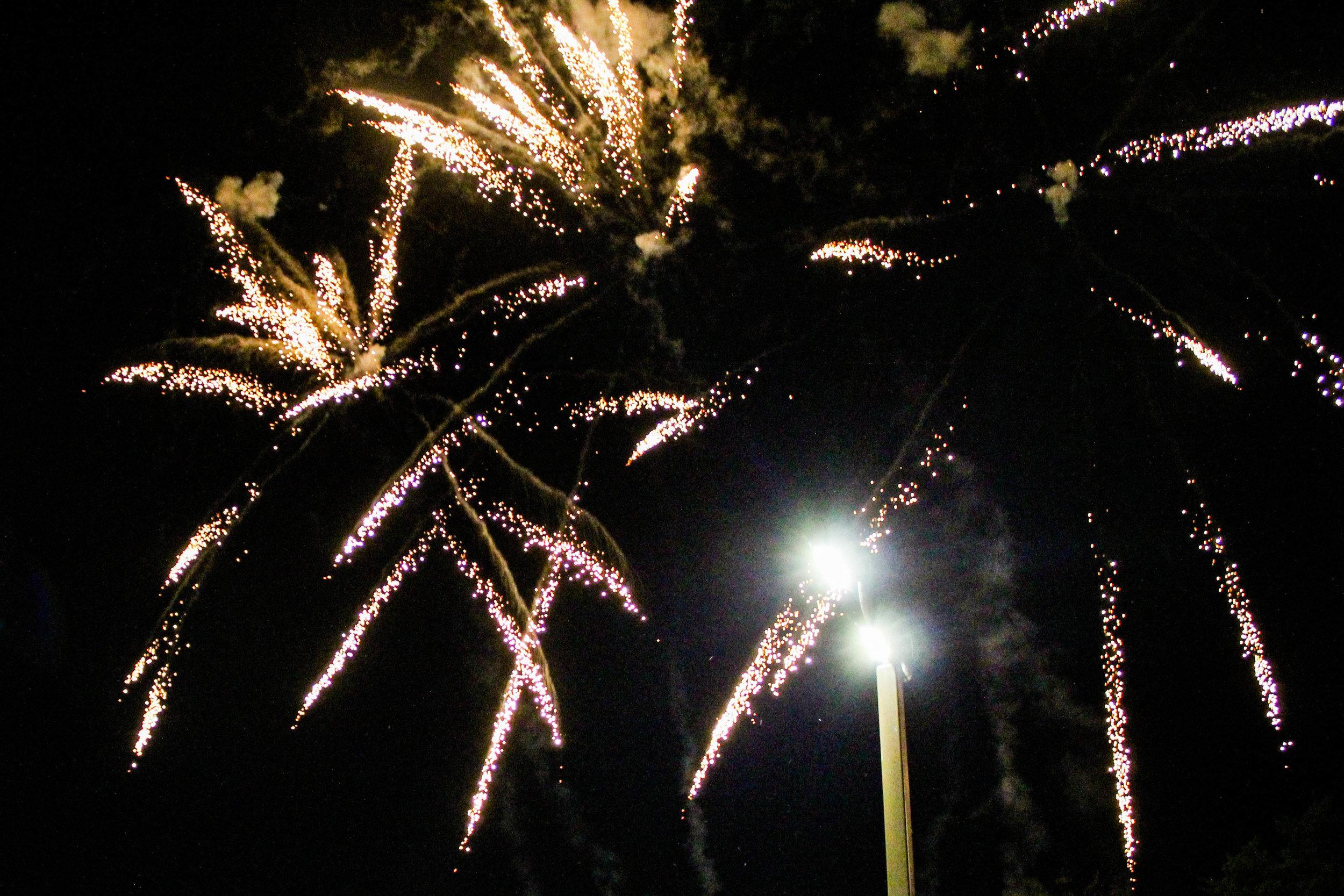 Homecoming week festivities began as fireworks were set off.