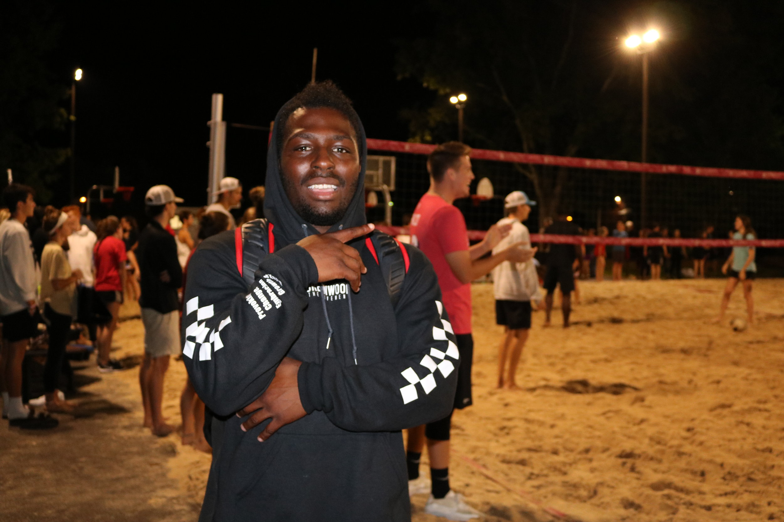 Junior, Emmanuel Harrison, is on the volleyball courts playing with Urbanwood and is pumped for the tournament on Monday night.
