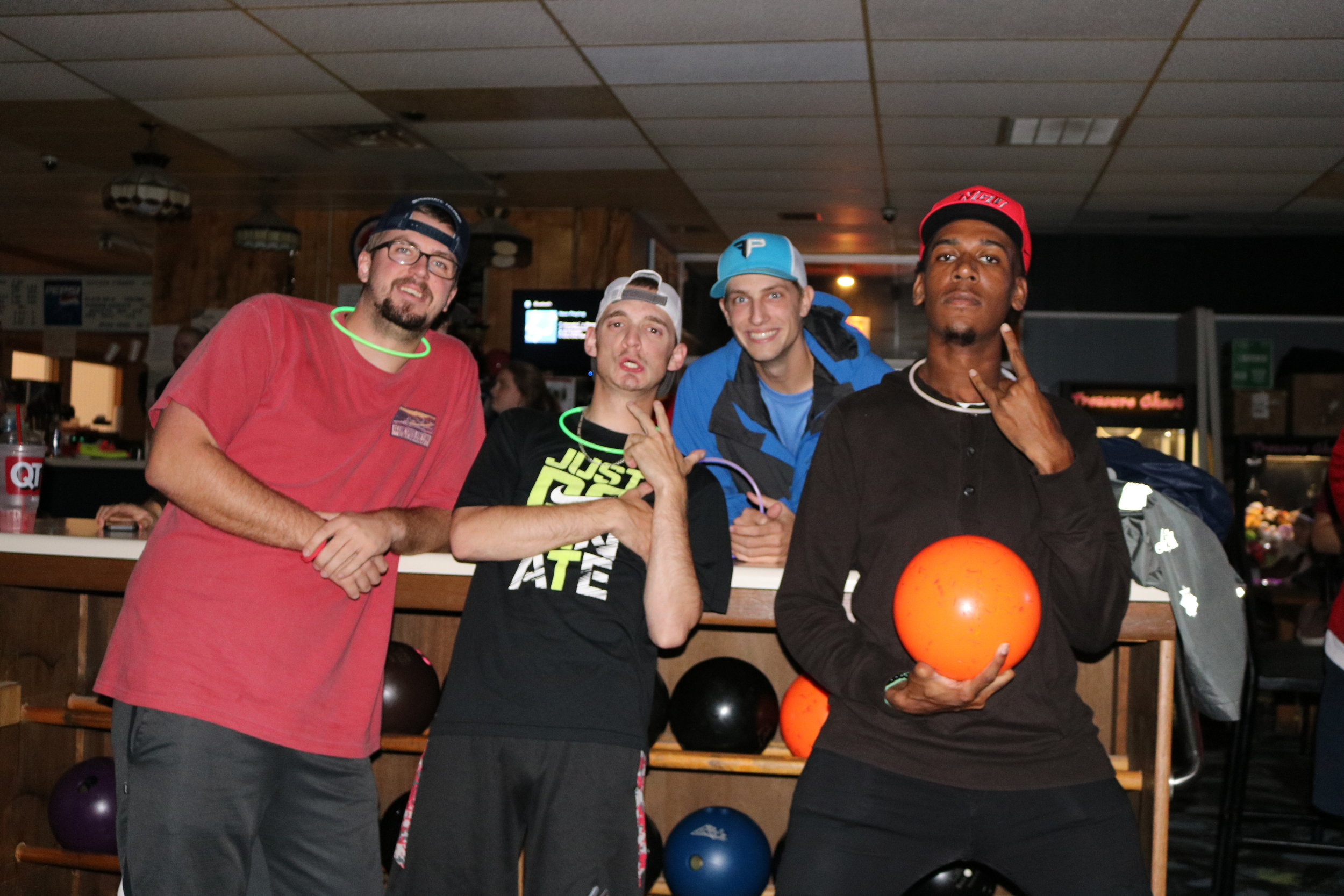 Seniors, Bryce Allen, Josh Bradley and Adam Daniel are all excited to bowl for Sport Management while sophomore, Zion Dendy is ready to compete with SGA on Wednesday night at Peach Bowl Lanes for free.