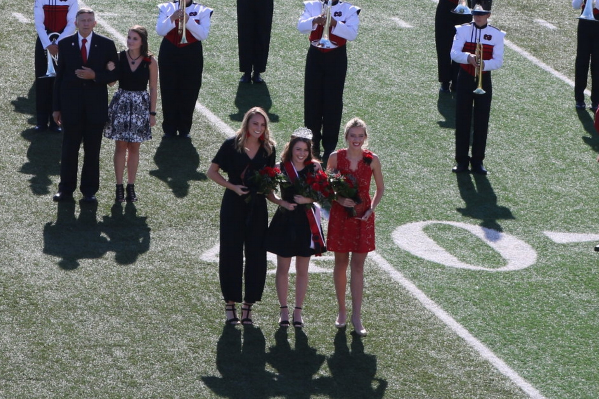 Junior, Allison Yeater, was announced NGU's Homecoming Queen 2018, and standing with her are 1st Runner Up junior, Courtney Williamson and 2nd Runner Up junior, Gabriella Porter.