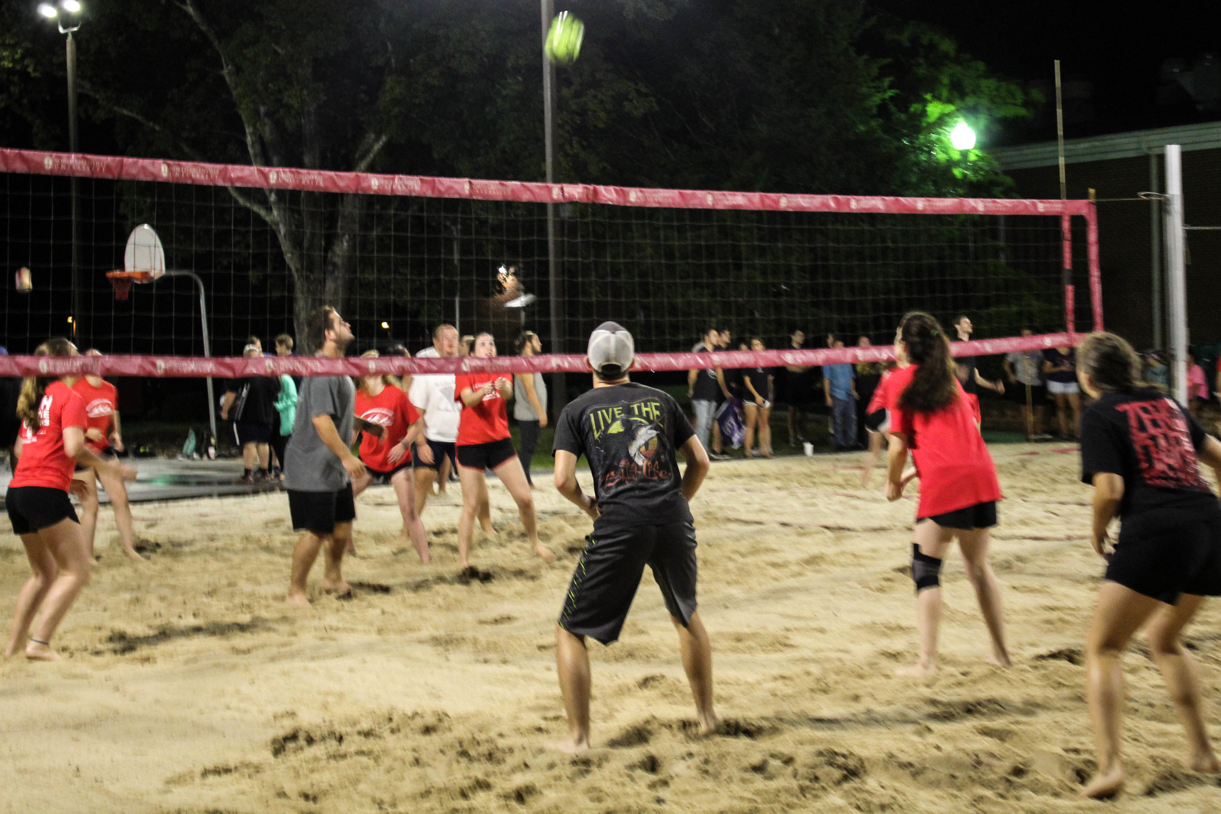The animal science club (black) squat to hit the ball back to the campus ambassadors (red).