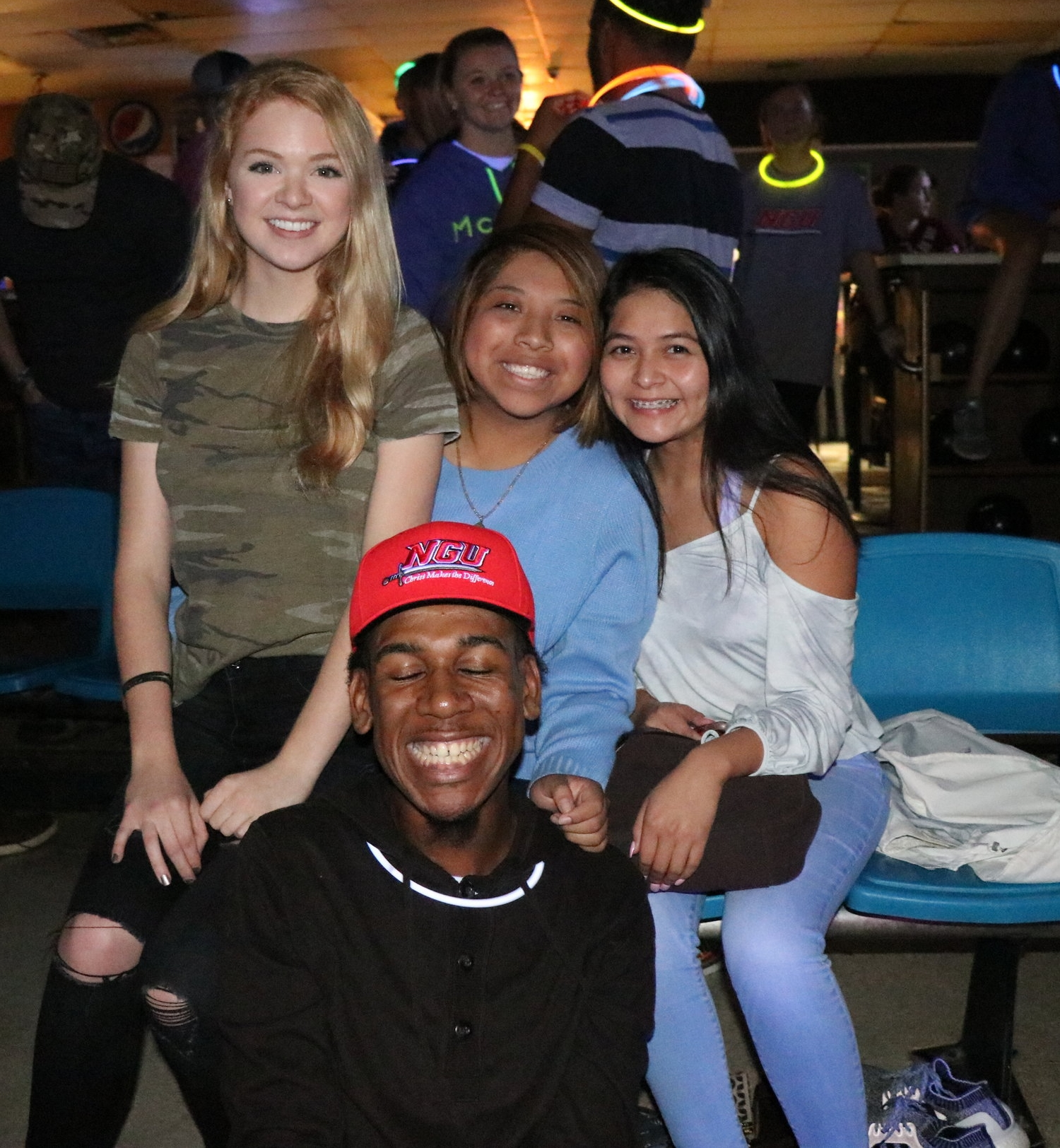Sophomore, Taylor Loughry, freshman, Tabita Romero, and sophomores Mary Garcia and Zion Dendy all take a break from having fun to pose for the camera.