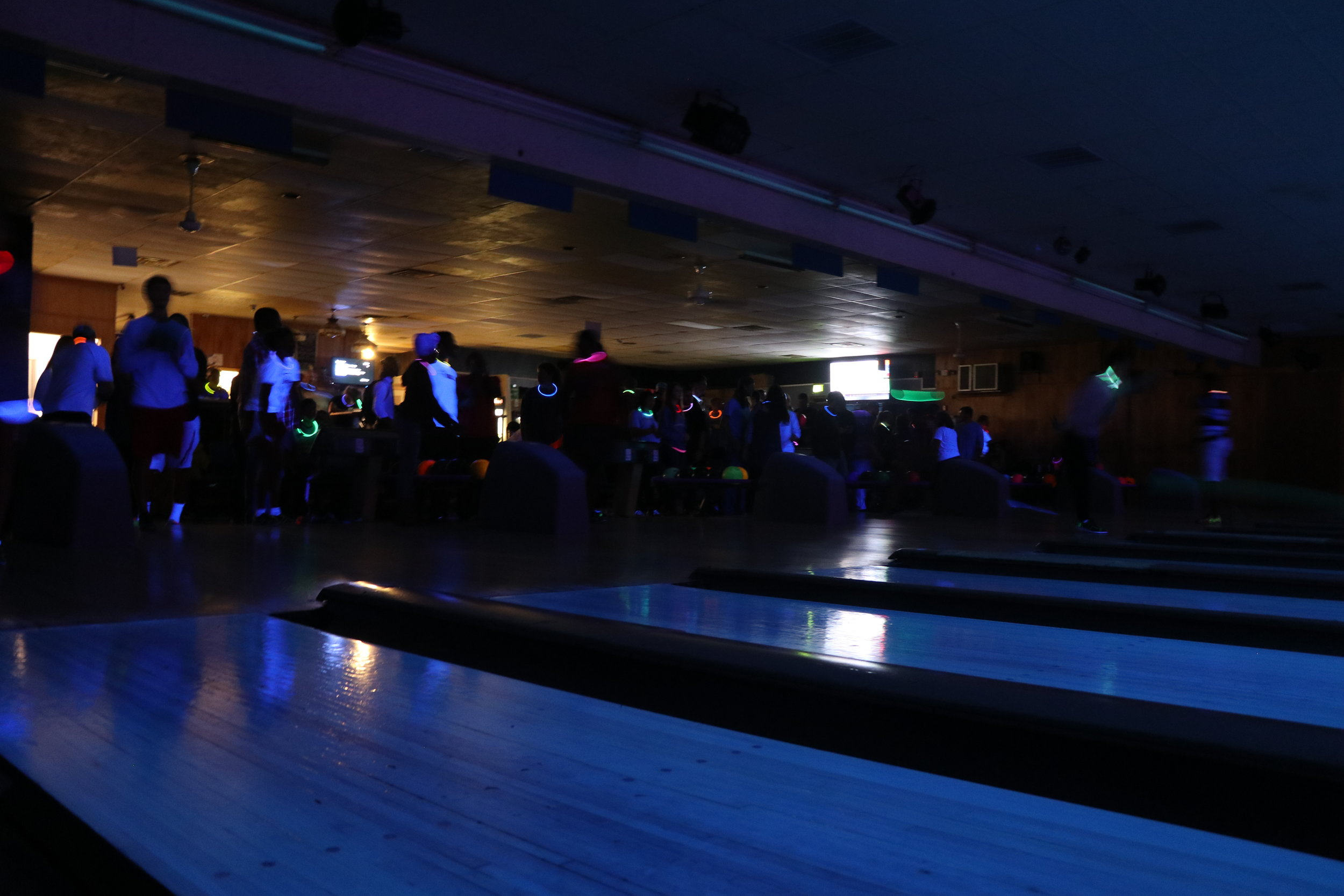 The bowling alley was crowded with NGU students and glow sticks.