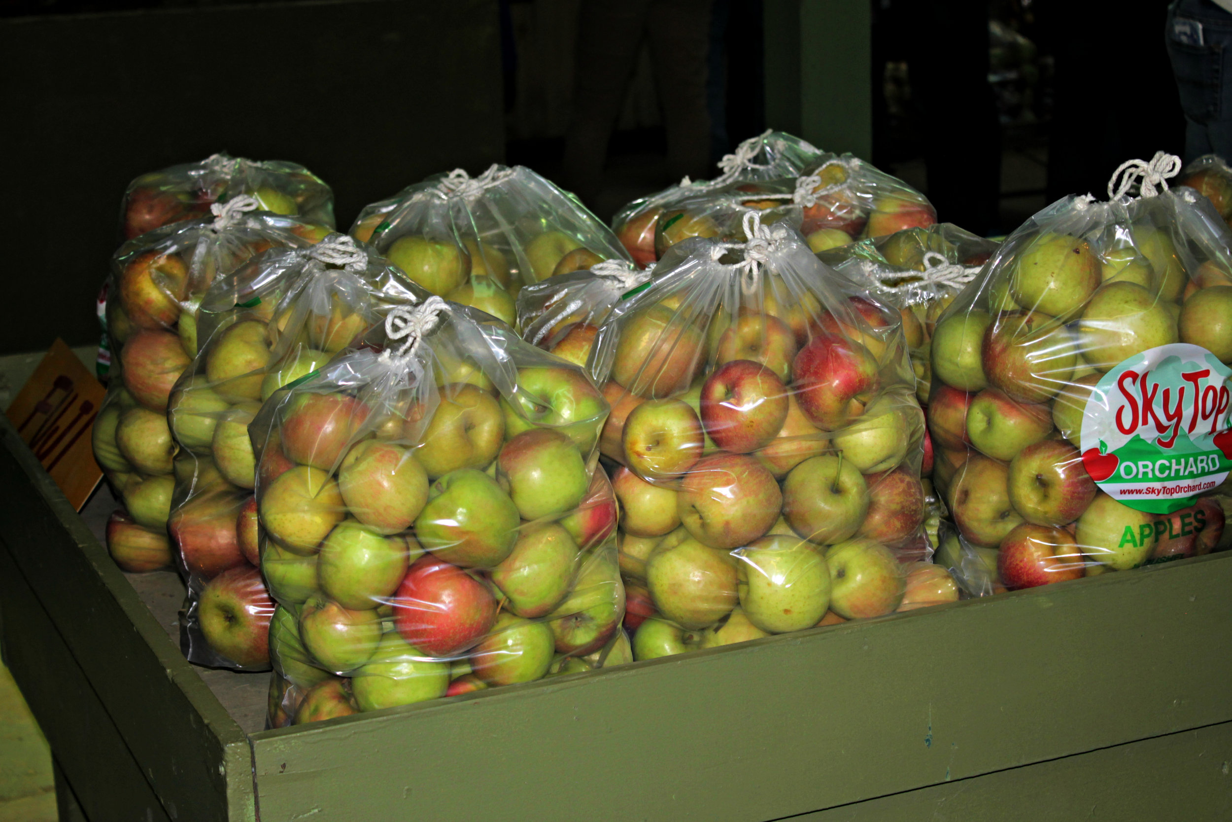 Above is an image of pre-made apple bags that can be bought if there is no time to pick personally. These bags are priced at $20.