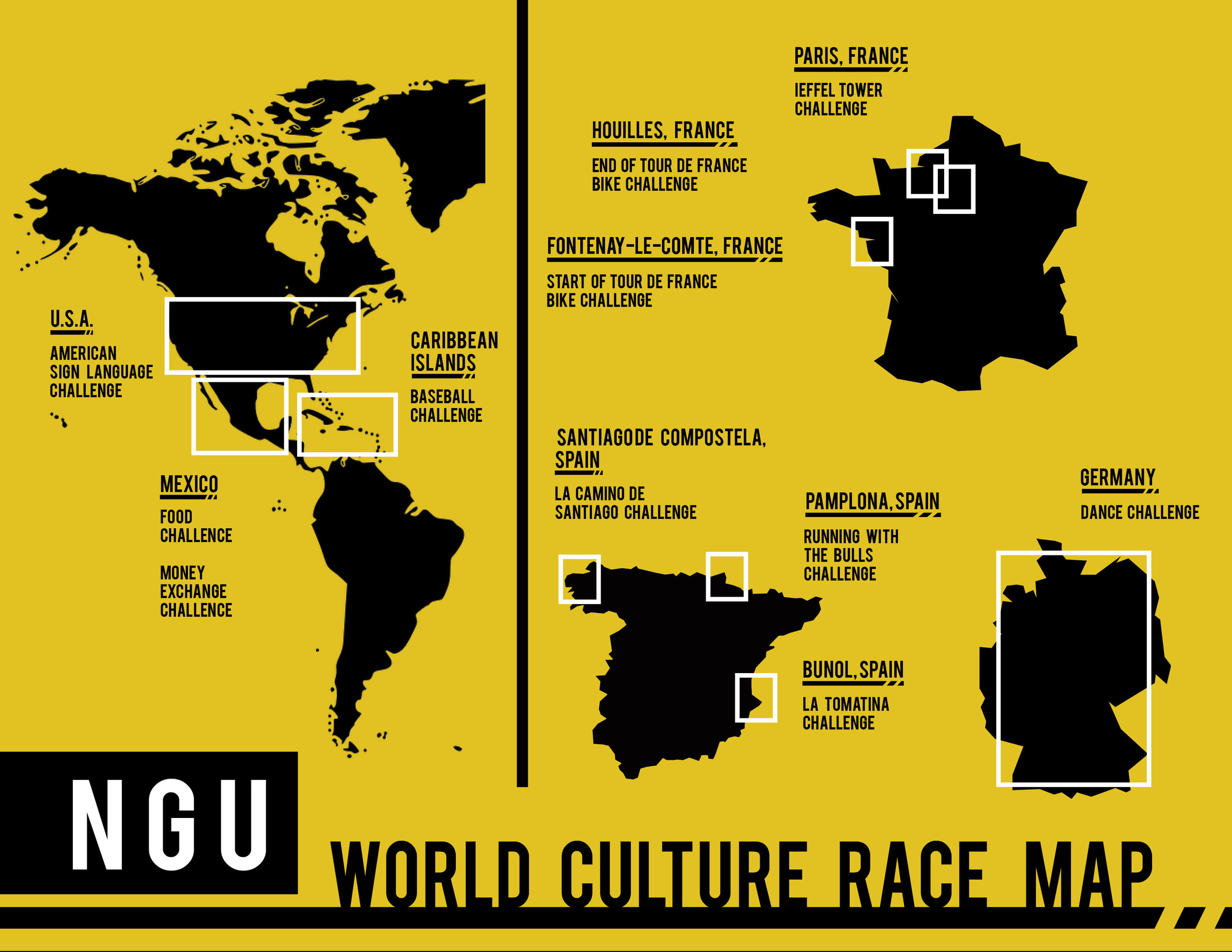 Map depicting where the events take place from the World Culture Race.