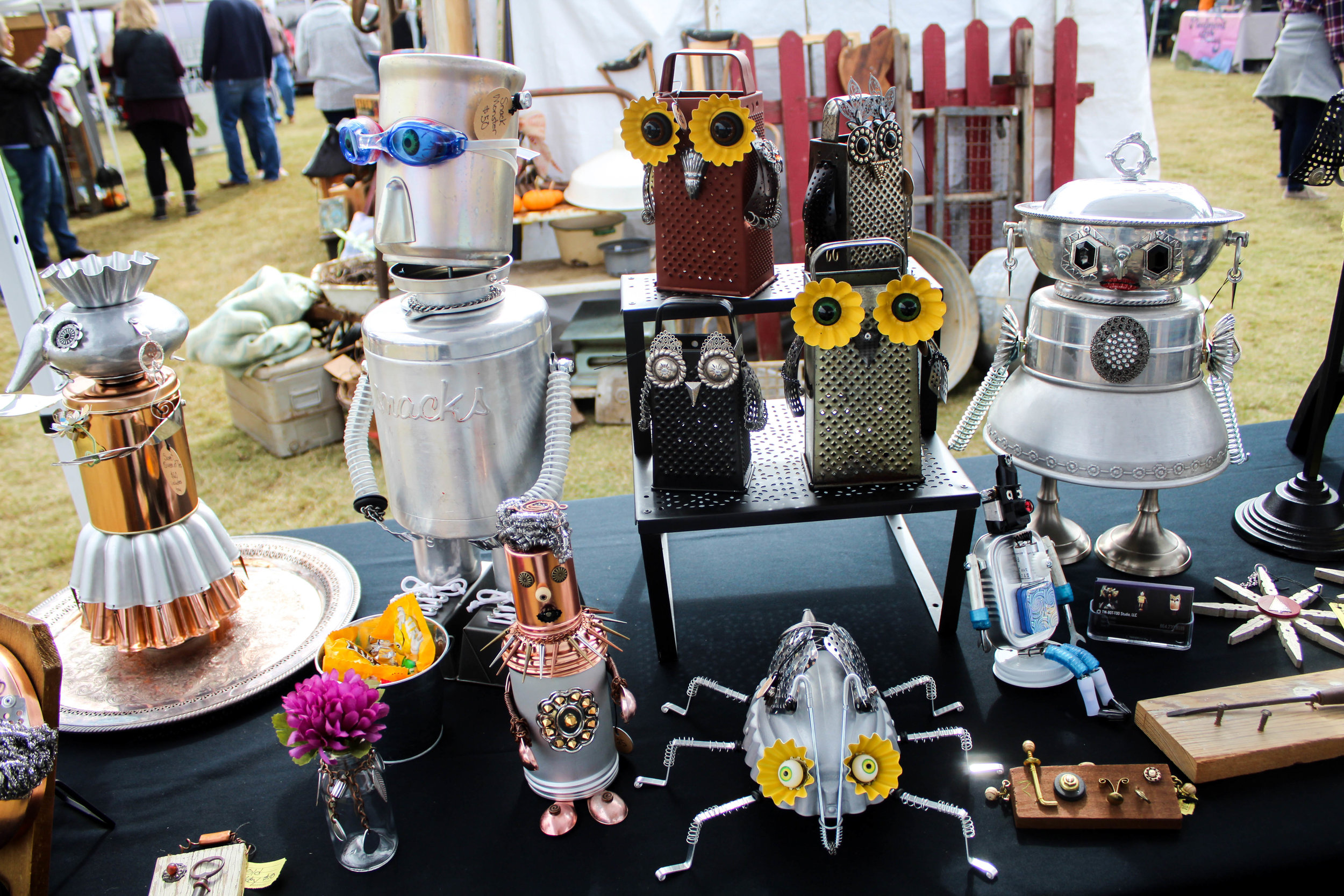 Helen Fields, owner and artist of TIN-BOT-TOO, brought many of her art pieces to sell at the market.