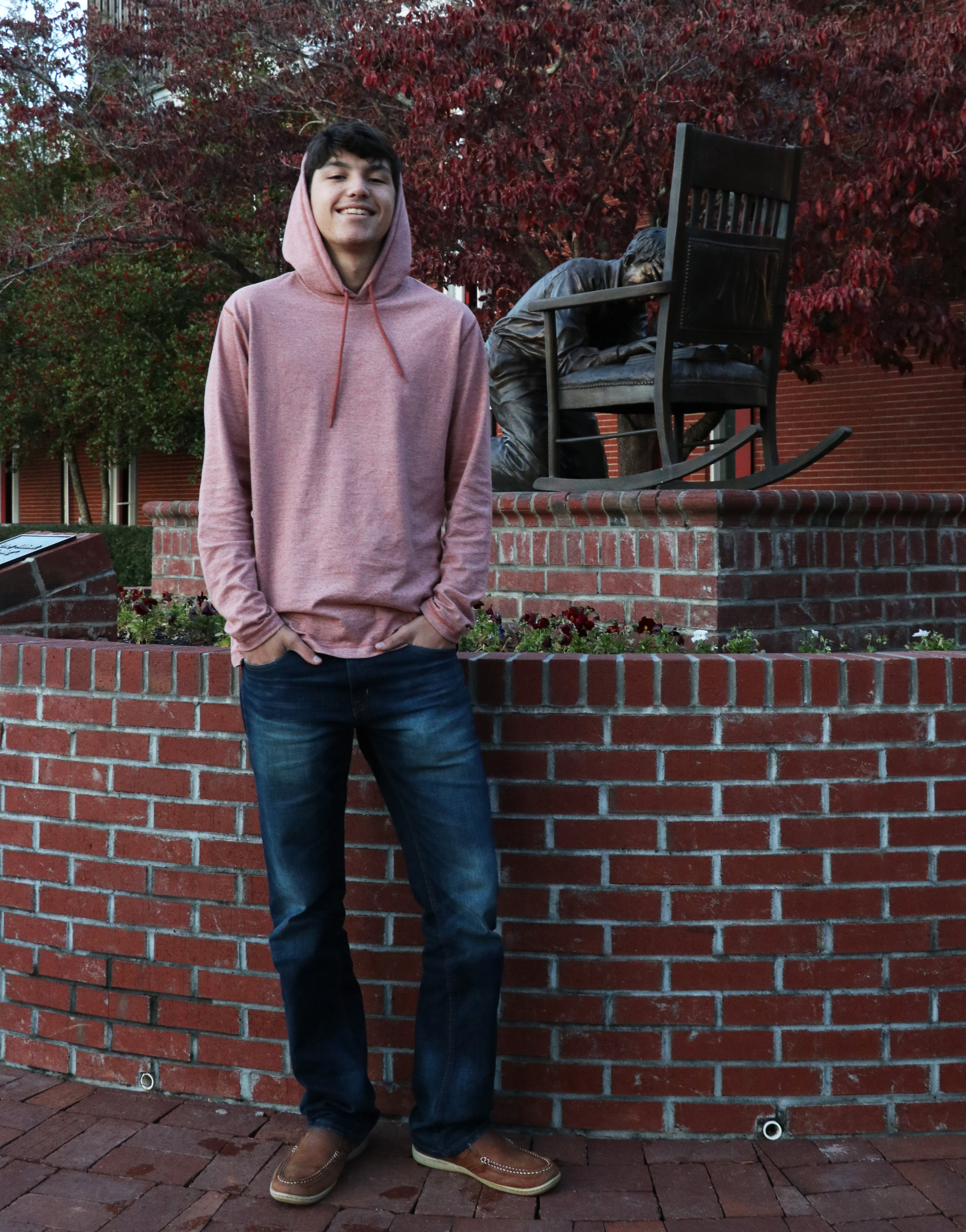 Chase Bridges, Sophomore, chooses to go with something laid back like a simple hoodie and brown Sperrys.
