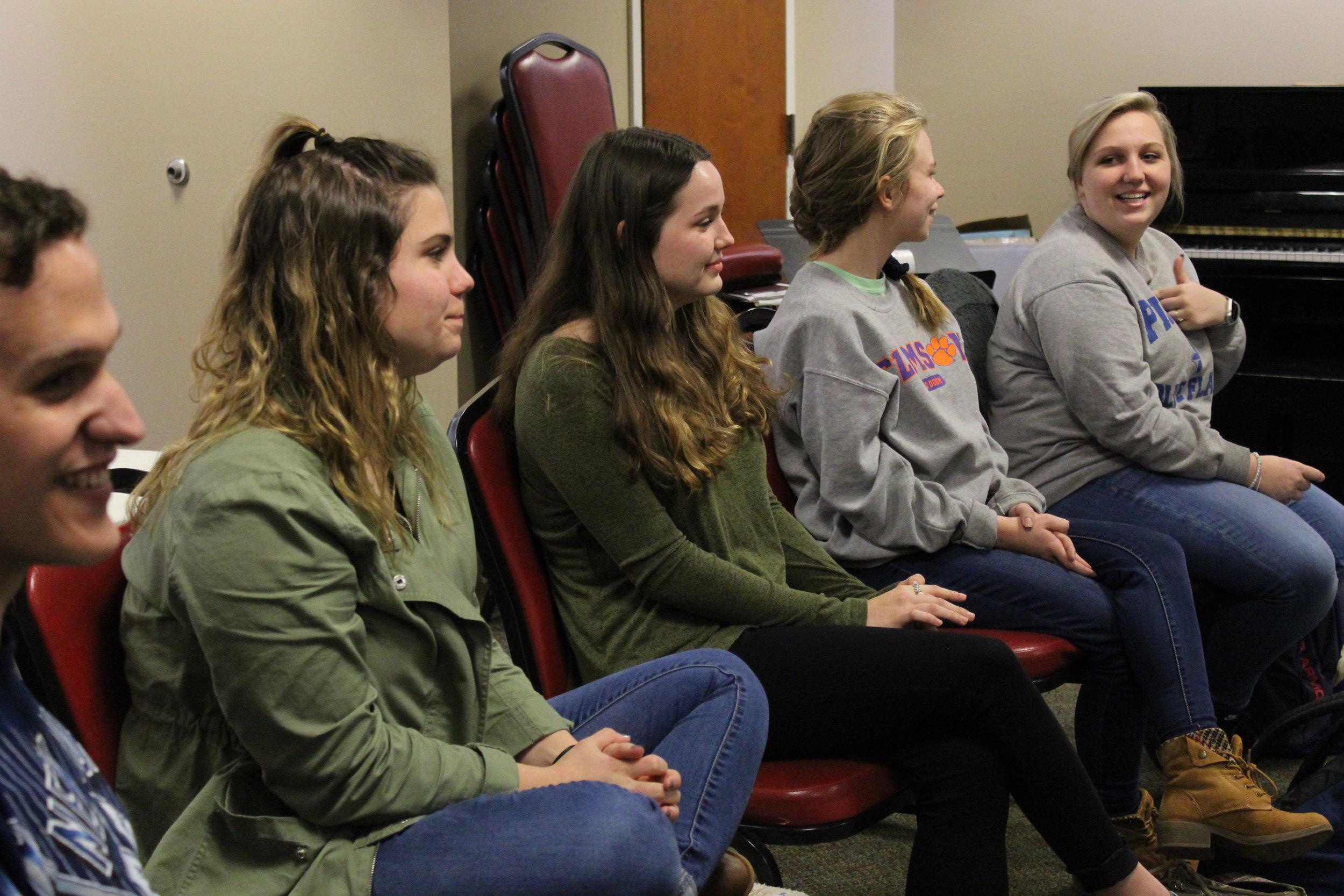 Students Elliot Corbin (junior), Alexandra Haver (freshman), Olivia Stromlund (freshman), Faith Bentley (freshman), and Megan Wyatt (freshman) take turns going around introducing themselves and sharing their relationship status.