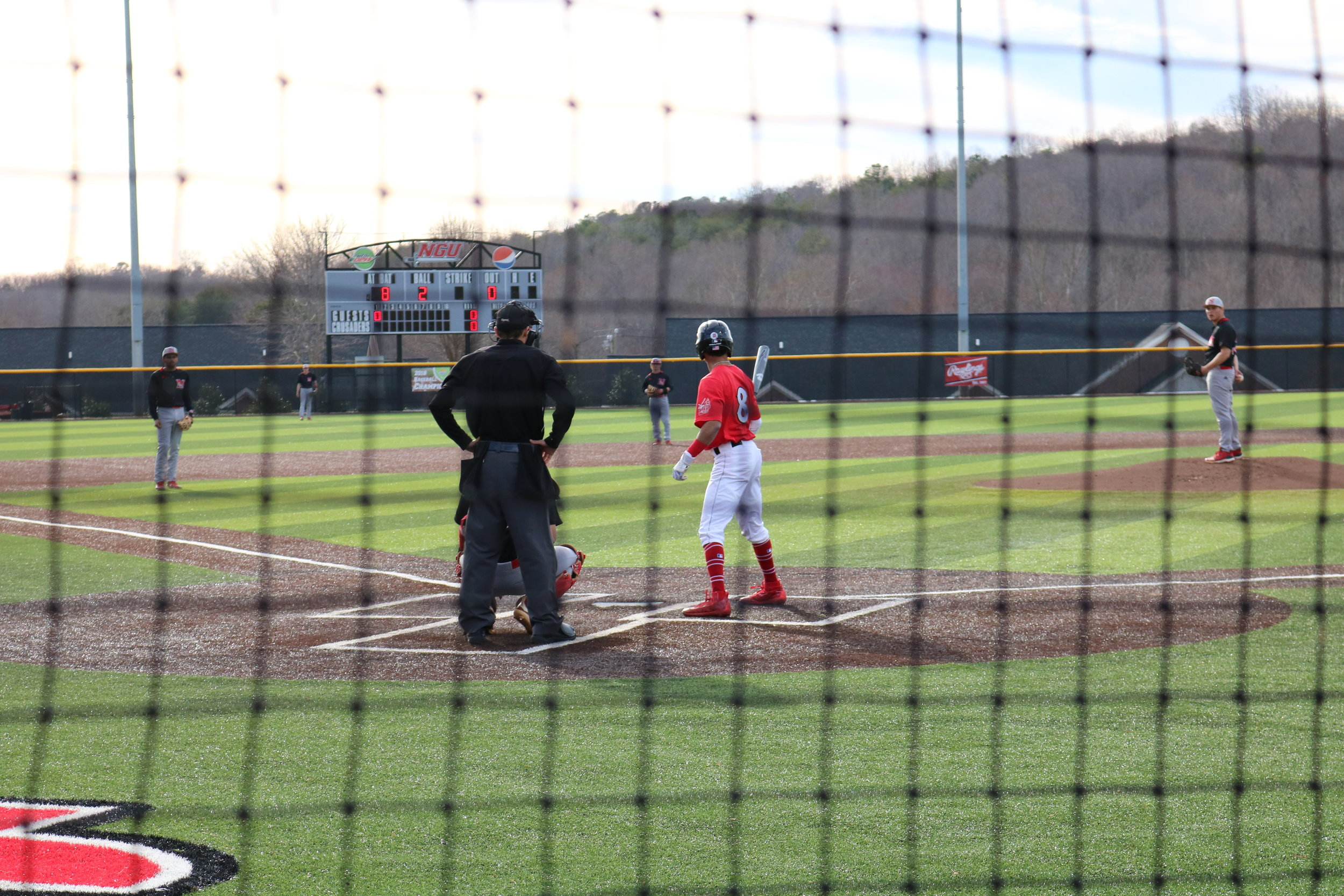 Sophomore Jeremy Whitehead (8) , steps up to bat as the first batter of the season.