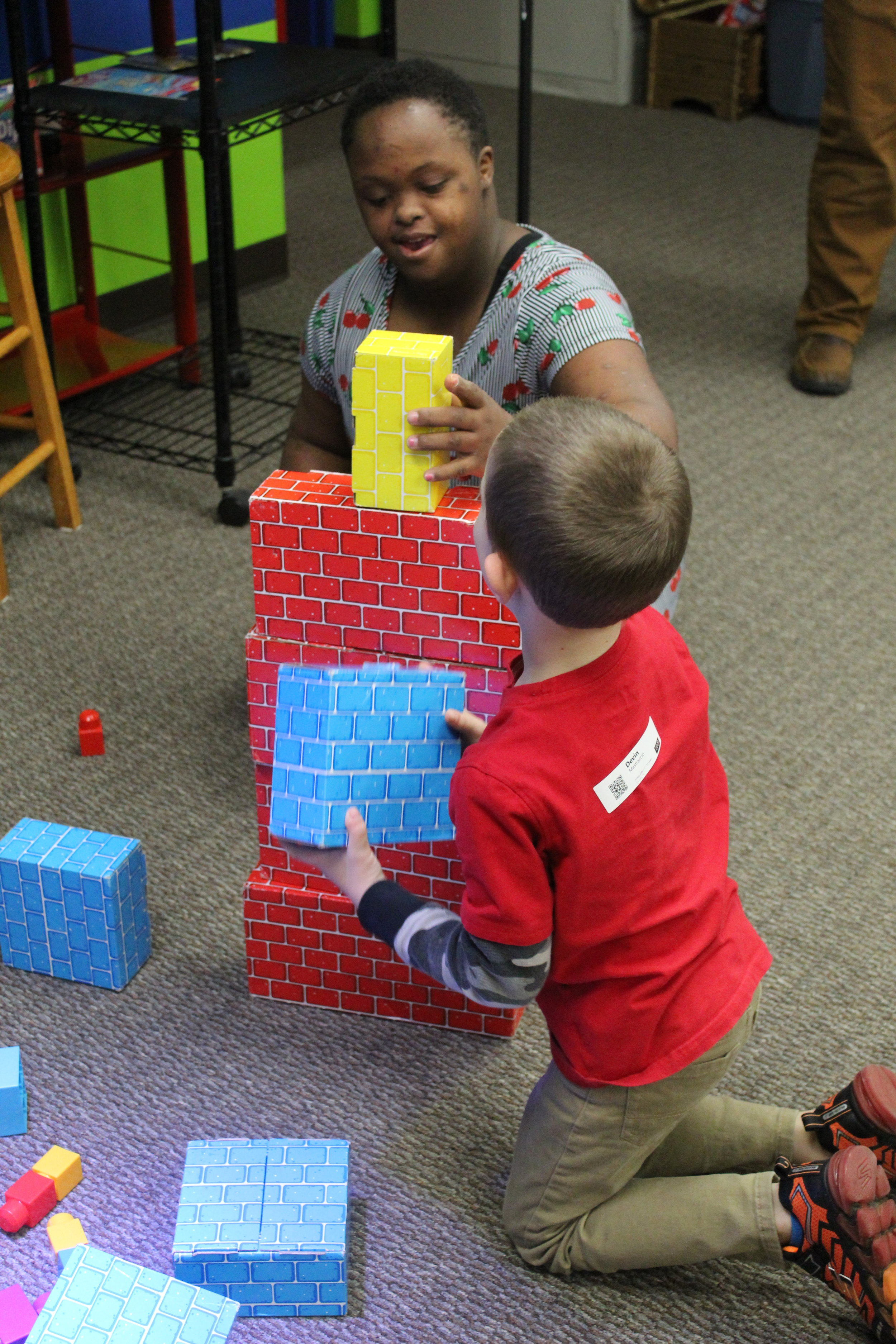 In Trinity Kids, the children's pastors Brad and LeeAnn, use object lessons and activities to assist teaching the students about different lessons throughout the Bible. Here, Tia Carlisle and Devin Mastraccio attempt to build the tallest structure using the given blocks. They learned how important it is to build thier life on a foundation of solid ground in Jesus.