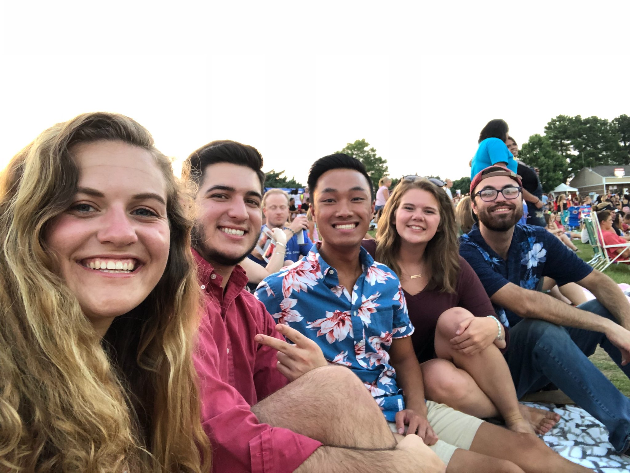 Harley Watkins (second from right) sits with her friends (Hunter and Mason Freitas, Adam Kelly and Allen Ellis) at a Charlie put concert.