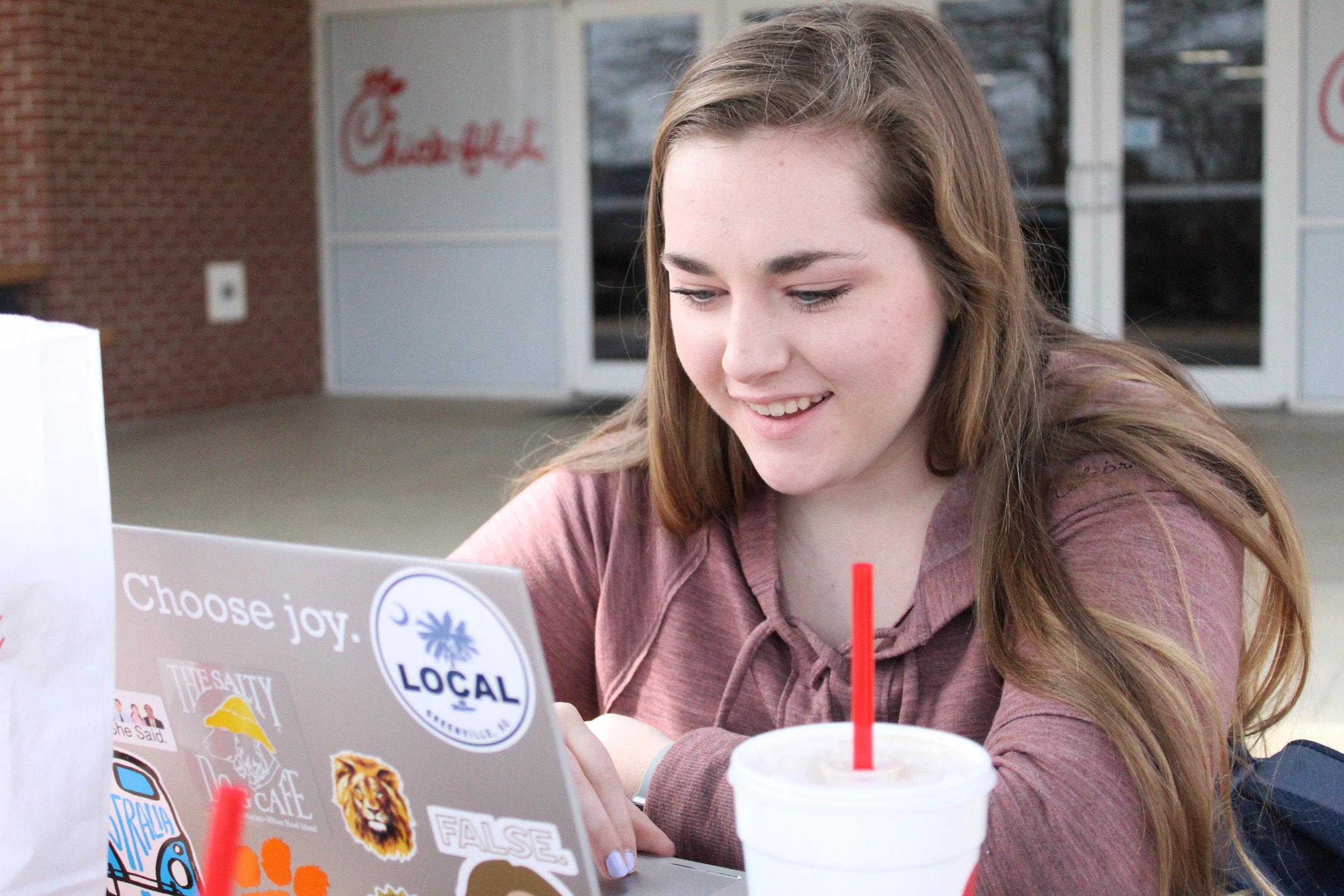 Freshman student, Lauren Blackwell, studies for an upcoming test.