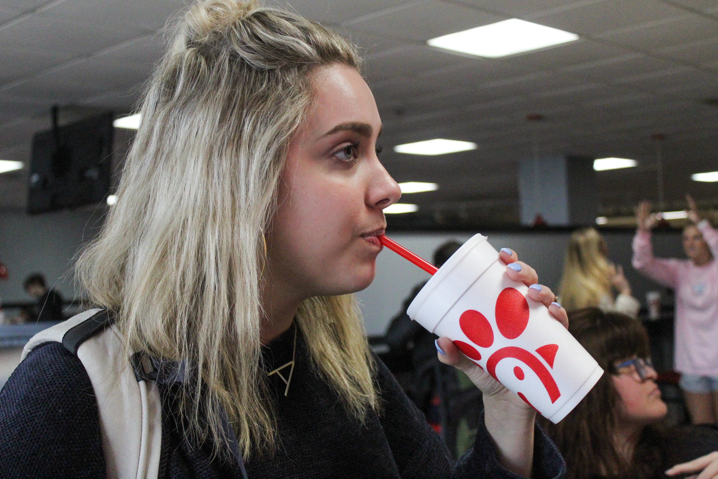 Freshman, Abby Swindal, waits in line for her lunch at Chick-fil-A.