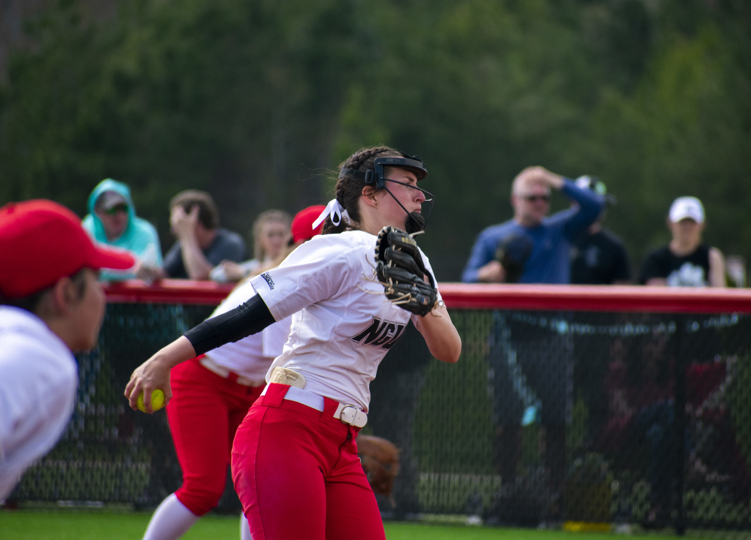 Sophomore Callie Richards (6) pitches the ball.