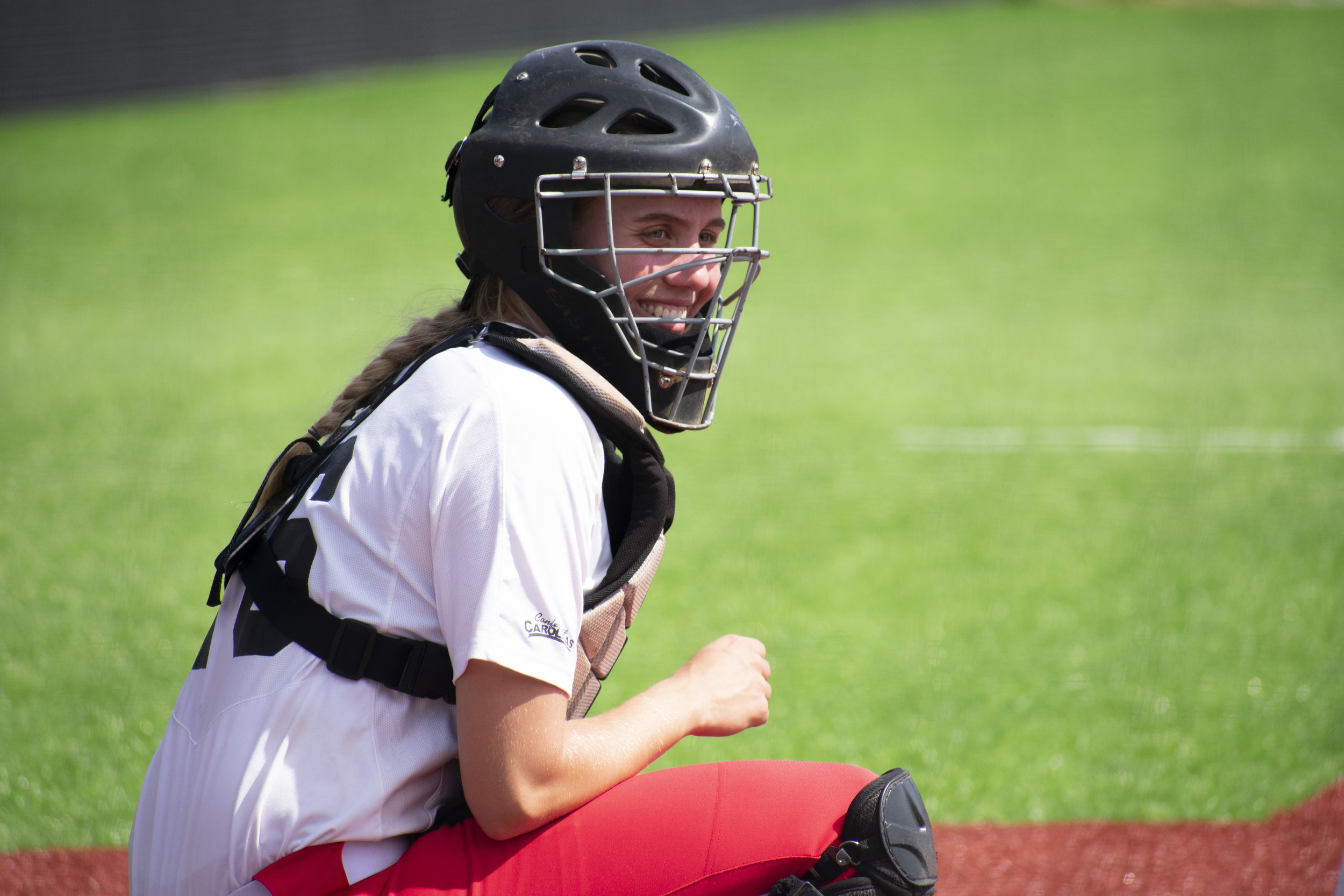 Sophomore Taylor Koon (16) waits for the game to resume.