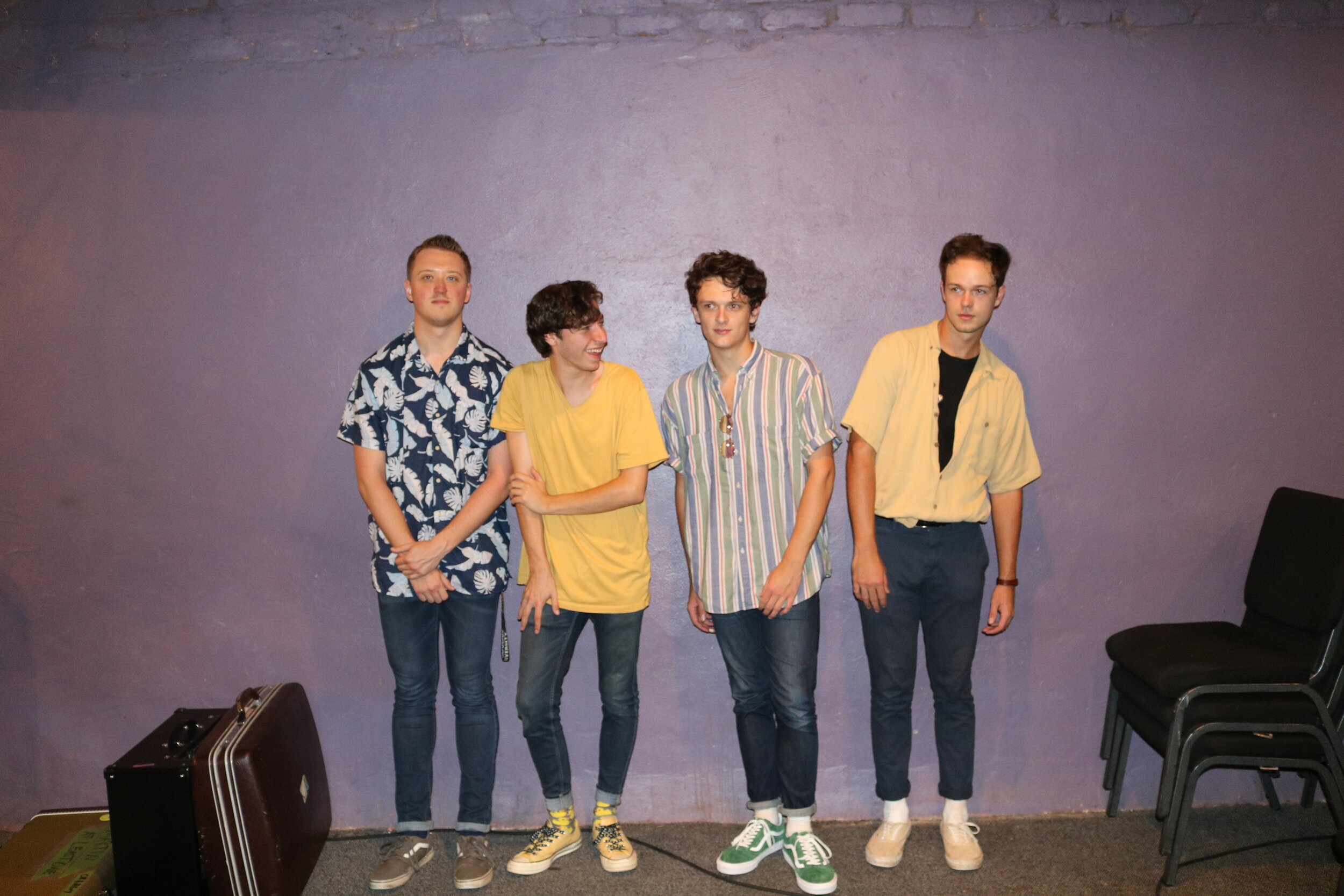 The band, At Least One posing for a picture after their successful set. From right, Austin Vander Mei (guitar one), Cameron Hardyman (bass), Matthew Martin (drums), and Daniel Martin (vocals and guitar two).