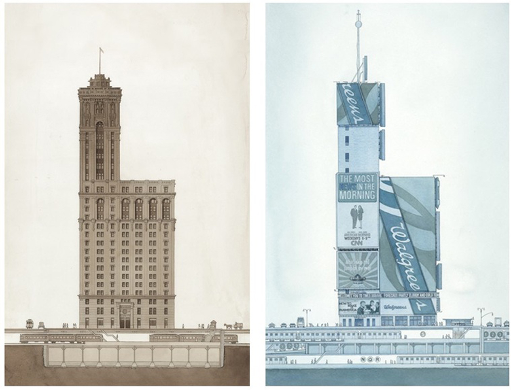 ELEVATIONS OF ONE TIMES SQUARE, 1904 and 2010    One Times Square, front and back endpages