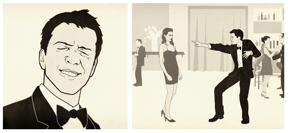 "STILLS FROM ANIMATED SHORT ""HOW TO DANCE WELL""   Mr Porter, collaboration with animator Daniel Sousa"