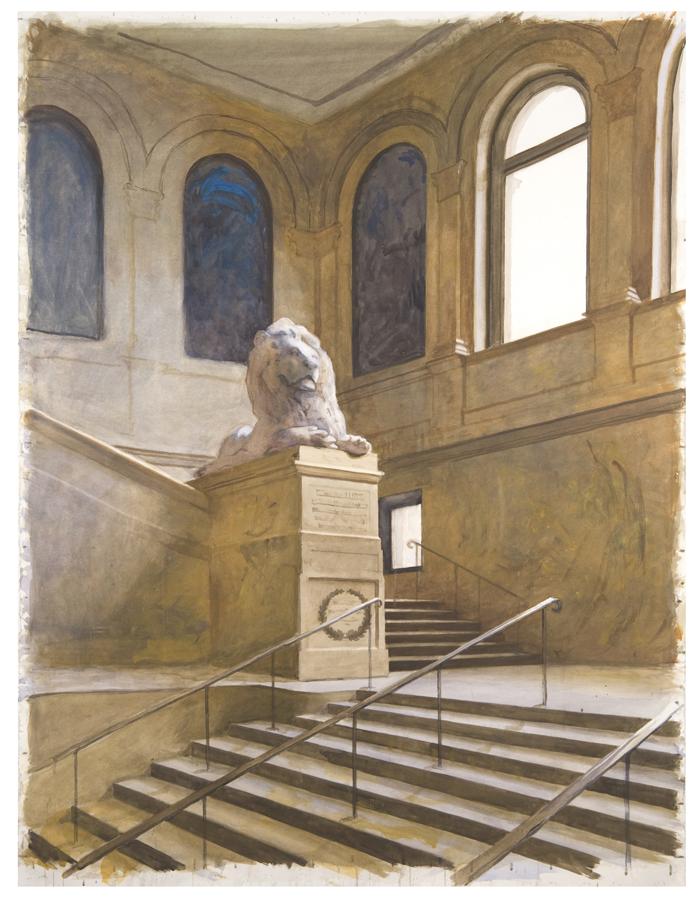 """BOSTON PUBLIC LIBRARY  Watercolor 40"""" x 50"""""""