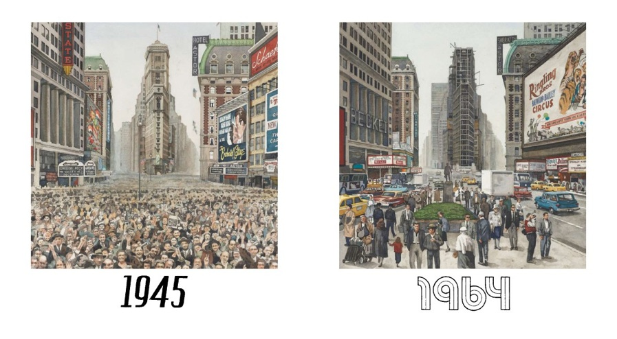 TIMES SQUARE VIEW, 1945 and 1964 One Times Square (David R. Godine), watercolor, 2011