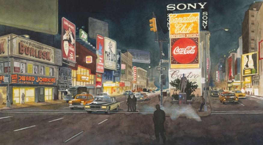 TIMES SQUARE, 1970's pp. 44,45 One Times Square (David R. Godine), watercolor 2011