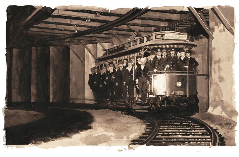FIRST TROLLEY, 1897   Beneath the Streets of Boston (David R. Godine), watercolor, 2005