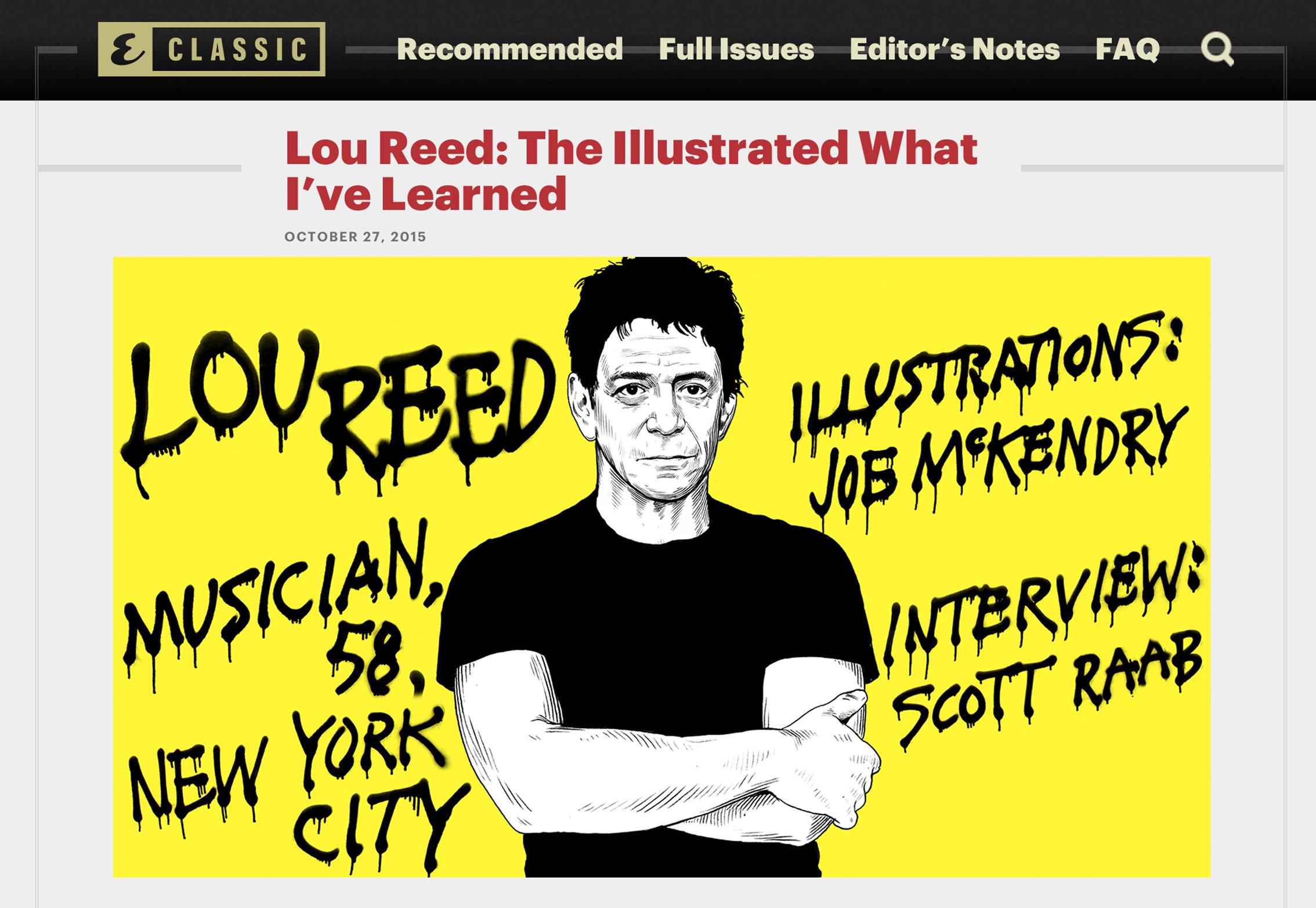 LOU REED  Esquire Classics, November 2015
