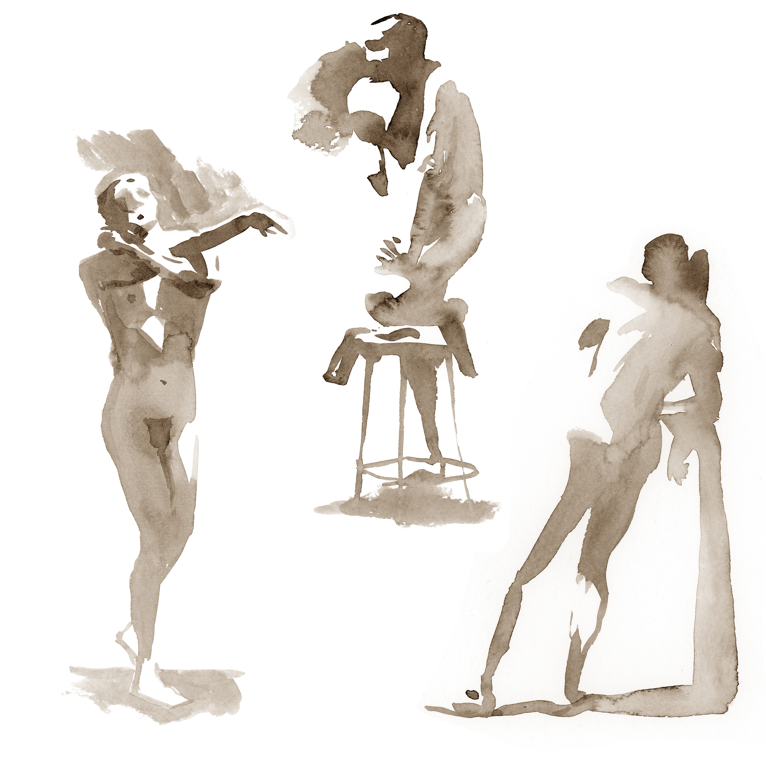 "FIGURE SKETCHES watercolor 9""x 9"""