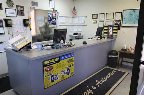 Our auto repair service desk. This is what you'll see when you visit our office. Efficient, clean, and straightforward.