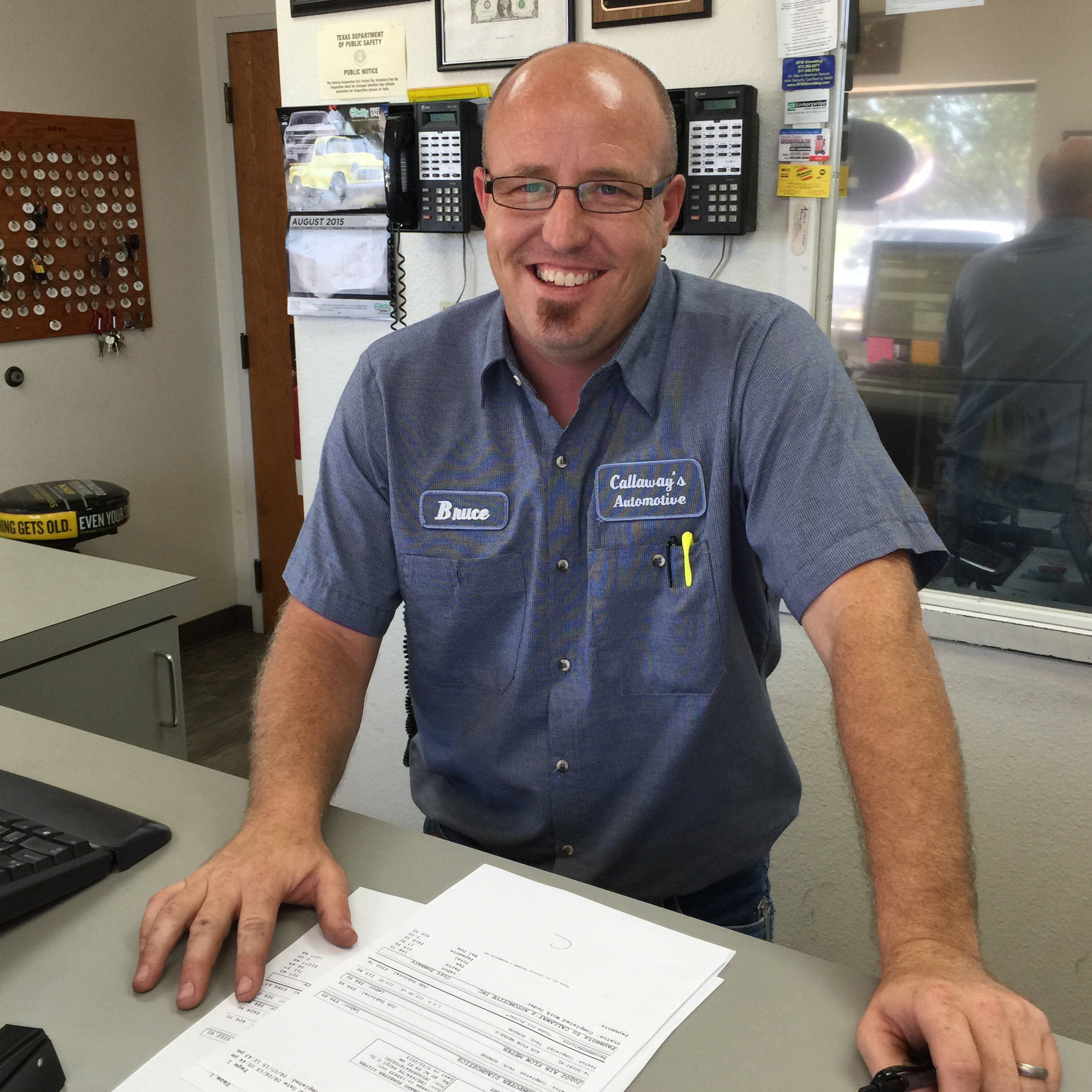 Bruce will greet you at the front office and listen to you as you describe the problem that has brought your vehicle to our shop.