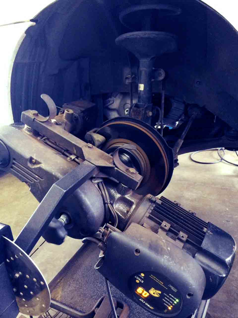 """Car brake lathe creates a more """"true surface"""" than bench lathes thus creating a longer brake life. Small details like this add up to value that pays off over the life of your vehicle.."""