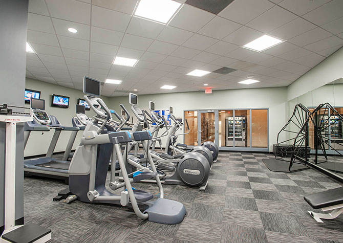 modern apartment building gym