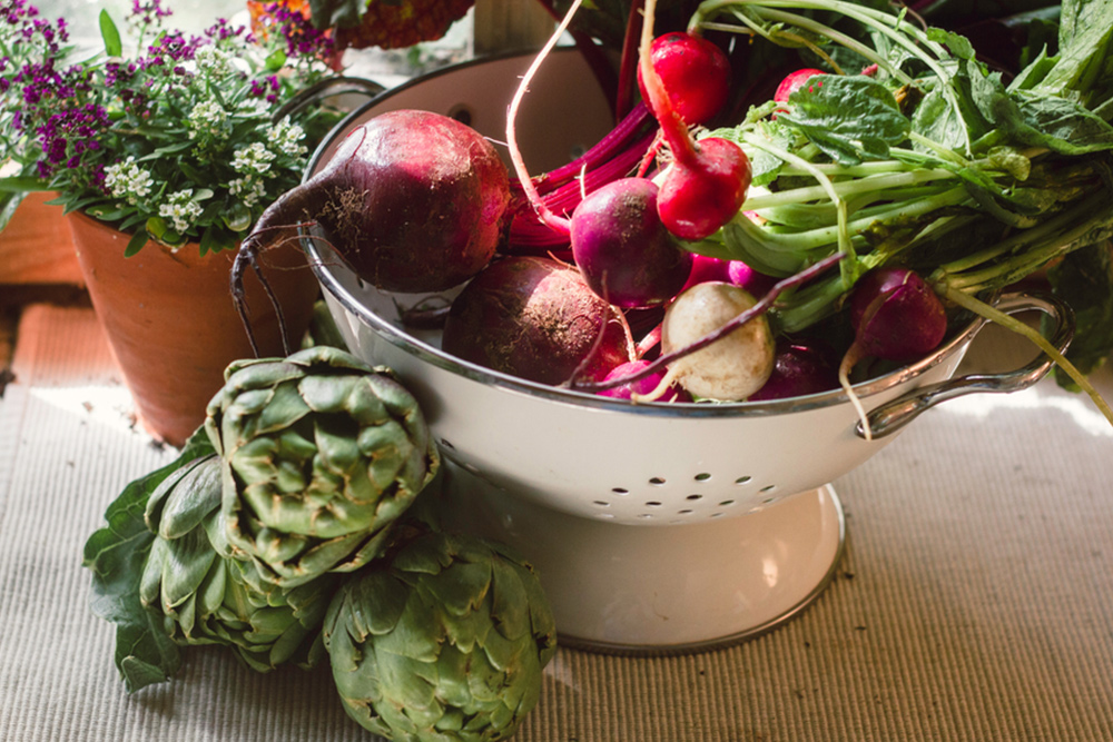 vegetables on kitchen counter
