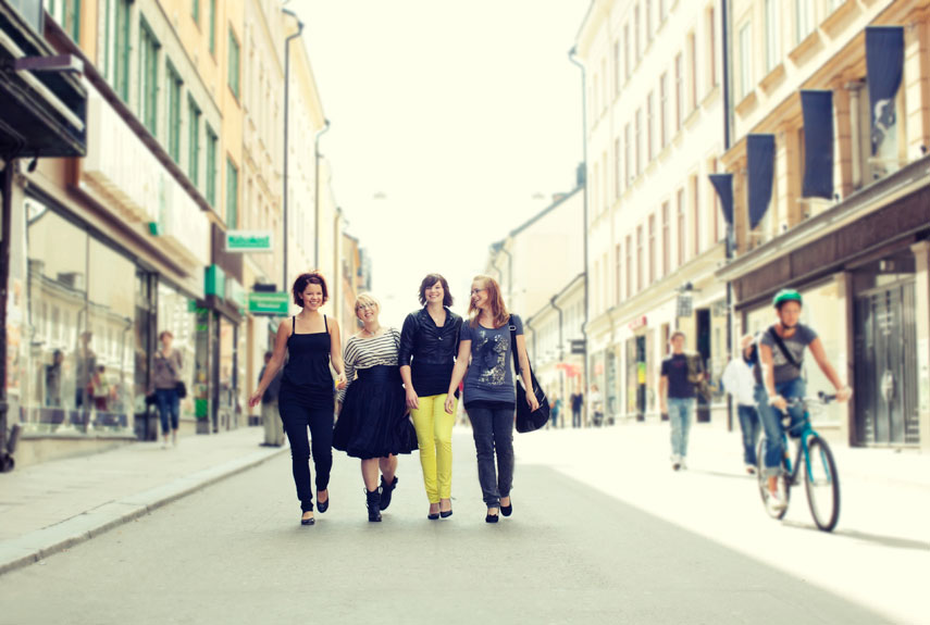 young women walking in the city