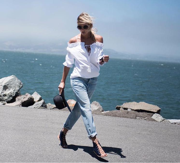 Top: Rosella Jardini Pearl ring: Designs by Alina Sunnies: Chloé Sandals: Ancient Greek