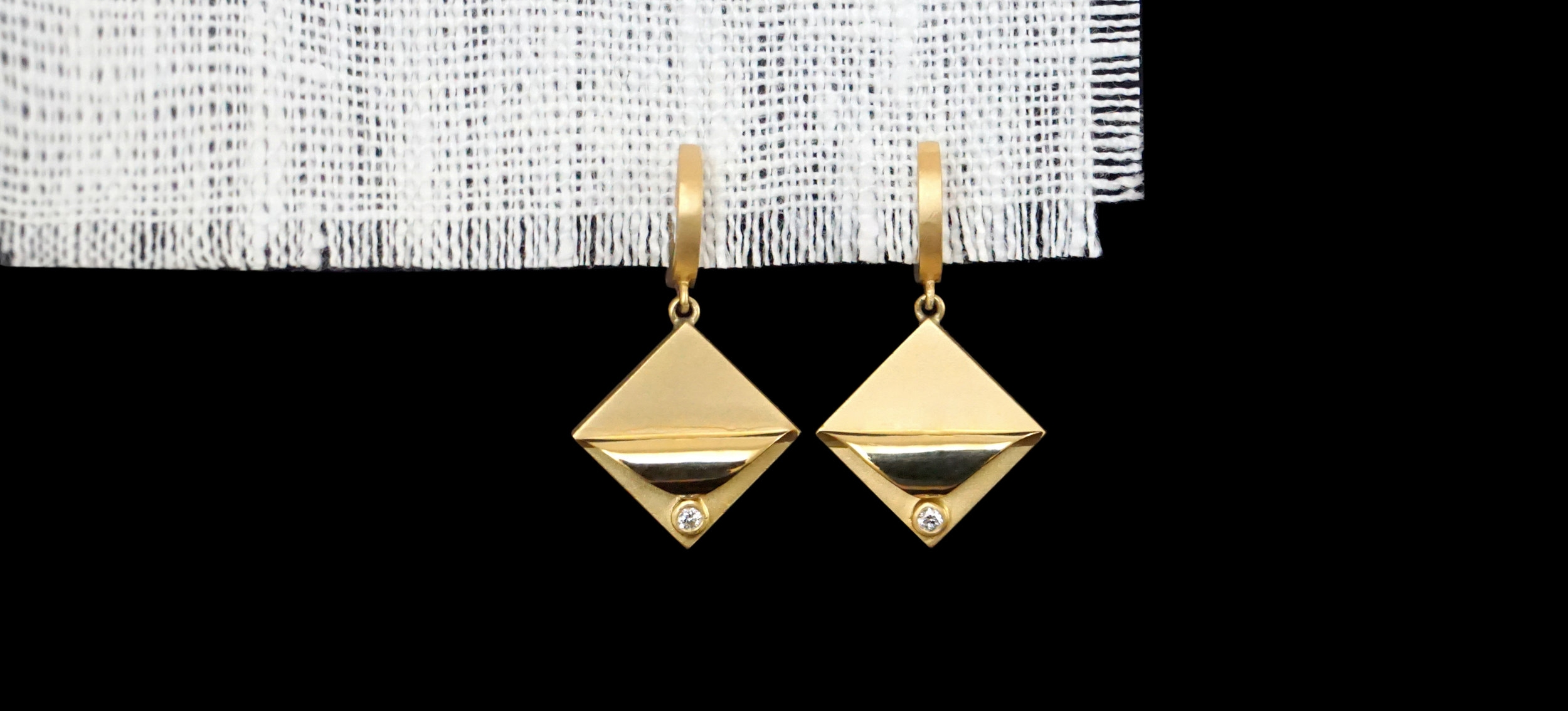 Migration  earrings, hand-forged in California with 18K solid gold