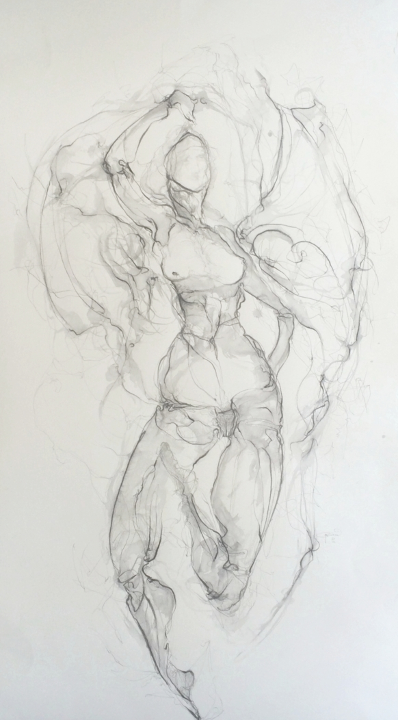 Angelic,   2016.  Graphite on paper  94h x 52w  SOLD