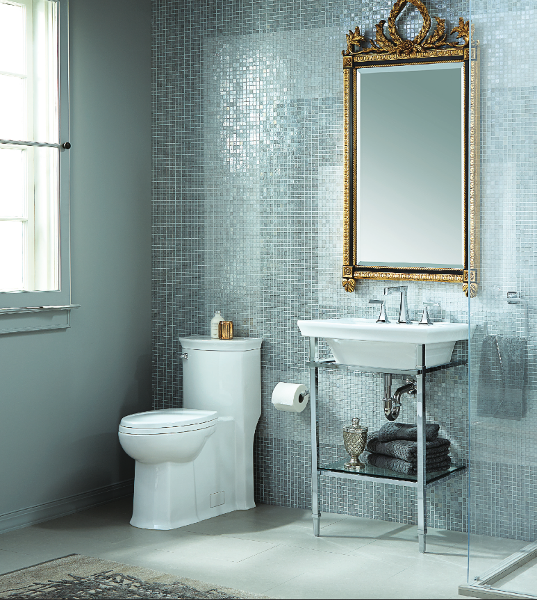 DXV WYATT CONSOLE LAVATORY, ONE-PIECE TOILET AND WIDESPREAD LAV
