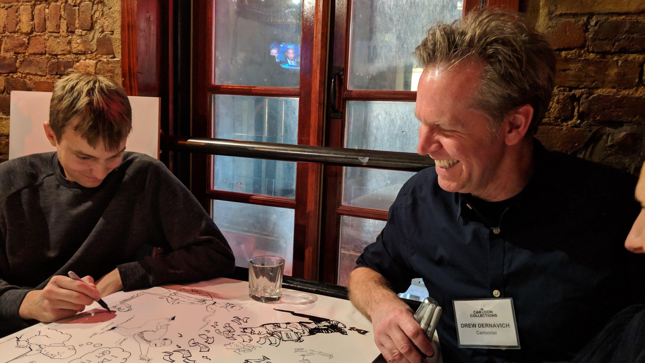 Ed Steed (left) draws Drew Dernavich (right)