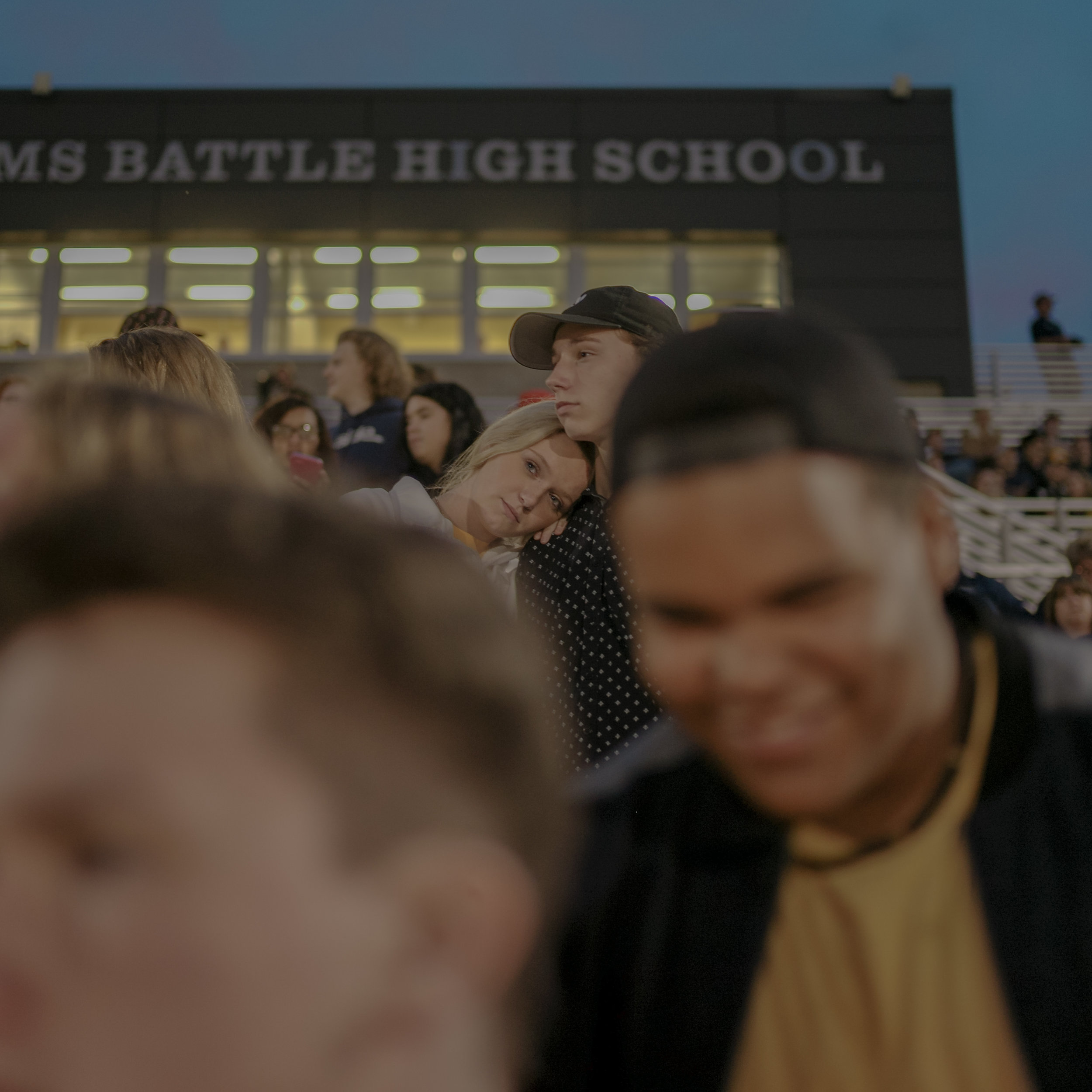 """Muriel Battle High School sophomores Alexandria Merriman leans on sophomore Jaydin Froeschner on on Friday, September 21, 2018 at Battle. """"He asked me out to a movie, so I forced him go see 'The Greatest Showman.'"""" They have been dating for almost seven months."""