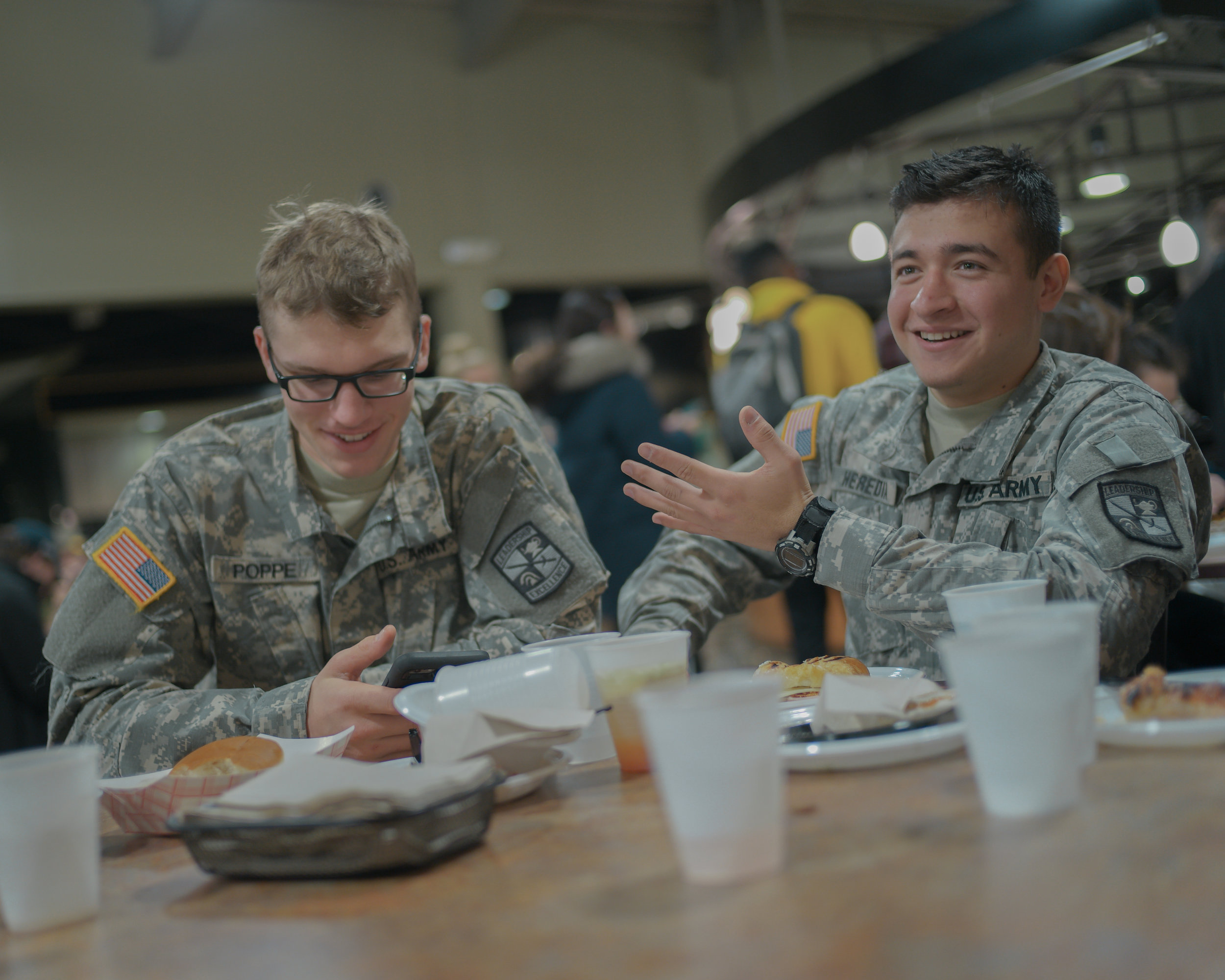 After an evening physical training session, Azuara-Heredia ate at Plaza 900 with fellow ROTC students on Nov. 29. As a scholarship recipient, he receives compensated room and board.