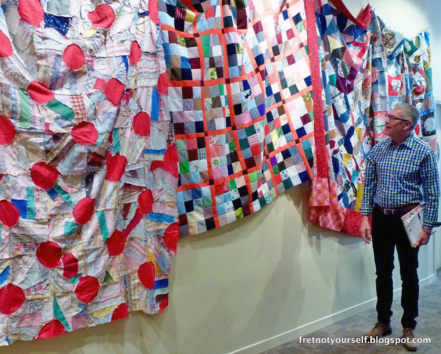 The entryway of  Found/Made at the San Jose Museum of Quilts & Textiles. Image courtesy of Fret Not Yourself.