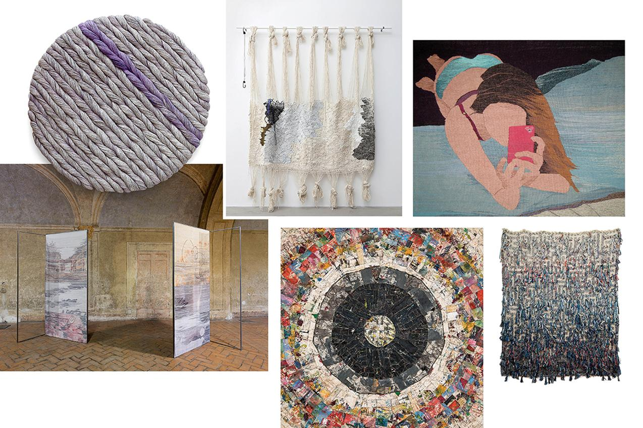 Clockwise from top left: A selection of fiber-based works by artists Sheila Hicks and Ann Cathrin November Høibo; 'Nudes 9,' one of Erin M. Riley's selfie-inspired tapestries, made of wool and cotton; a work by Igshaan Adams; Graham Wilson's 'Tunnel Vision' made with oil, twine and canvas; a work by Margo Wolowiec.     Image courtesy of the WSJ.