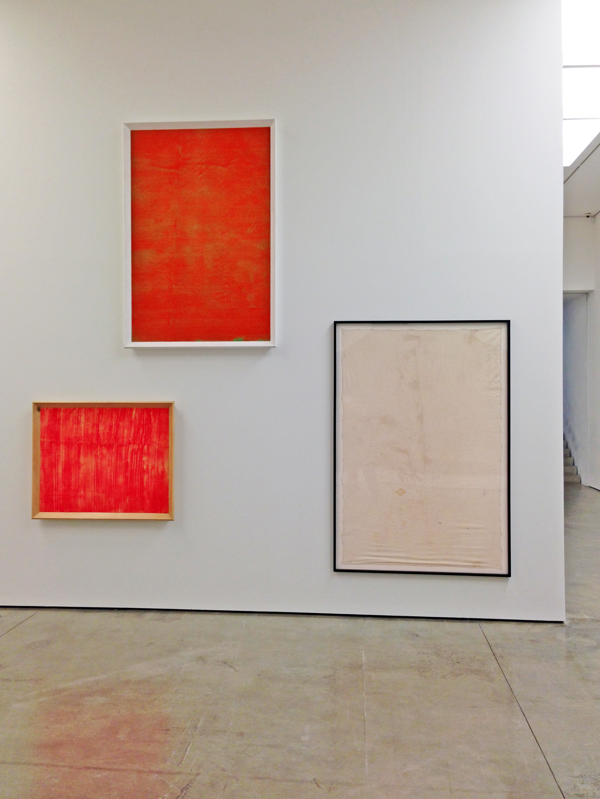 Mike Kelley. From left to right:  Carpet #2 , 2003; Carpet #5 , 2003; A Funny , 1972-2006